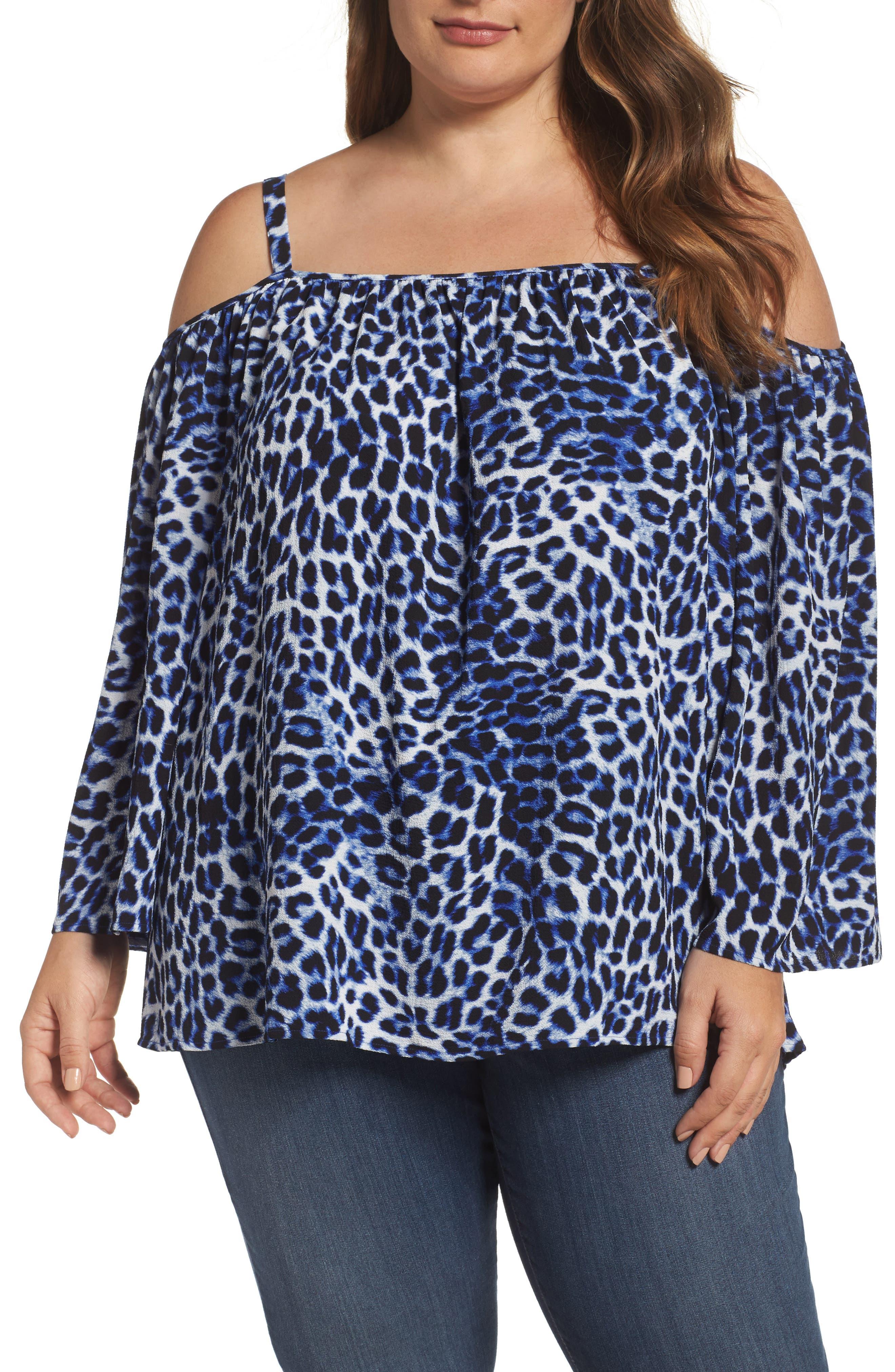 Vince Camuto Leopard Song Cold Shoulder Blouse (Plus Size)