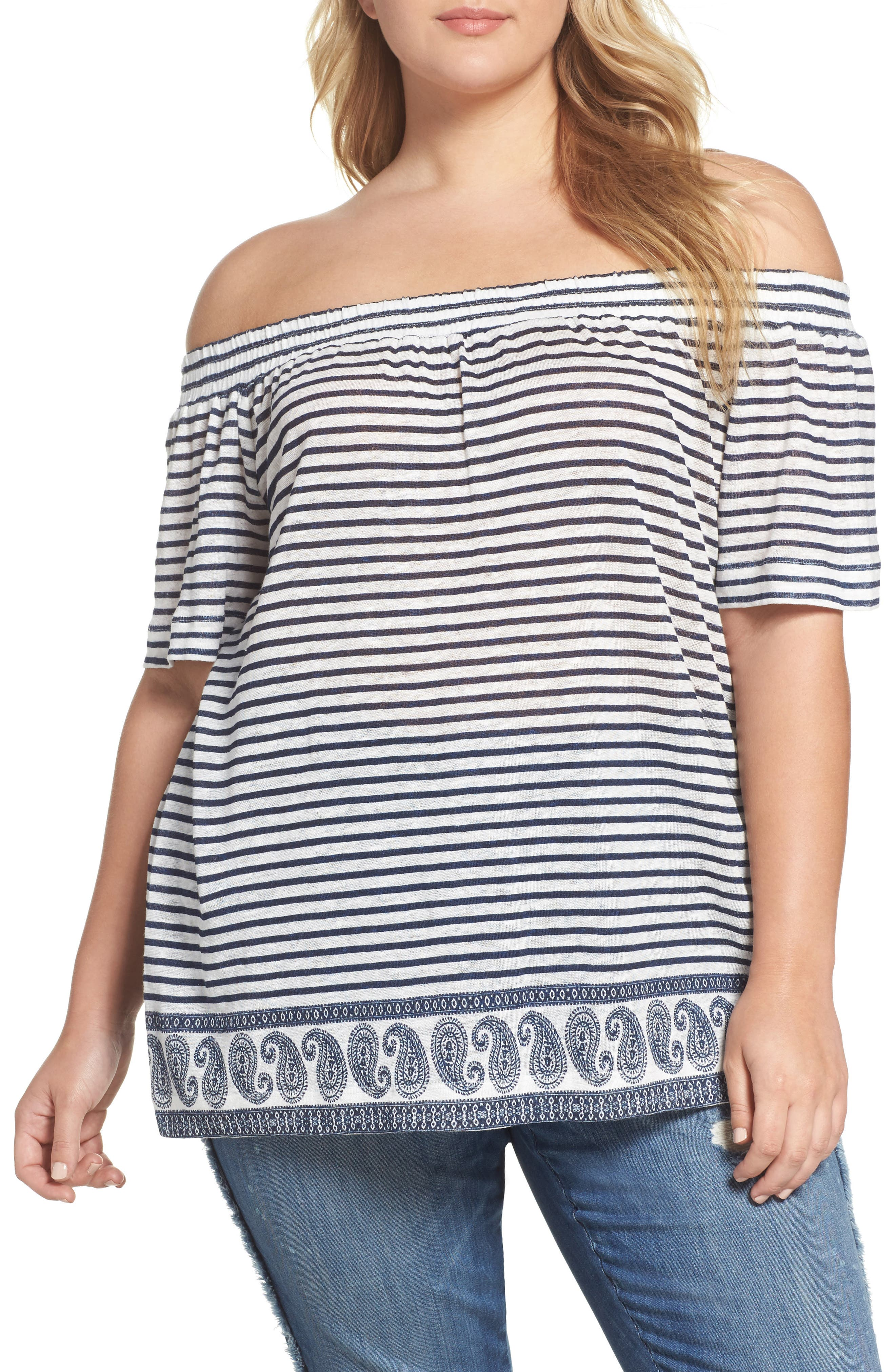 Main Image - Two by Vince Camuto Off the Shoulder Paisley Stripe Top (Plus Size)