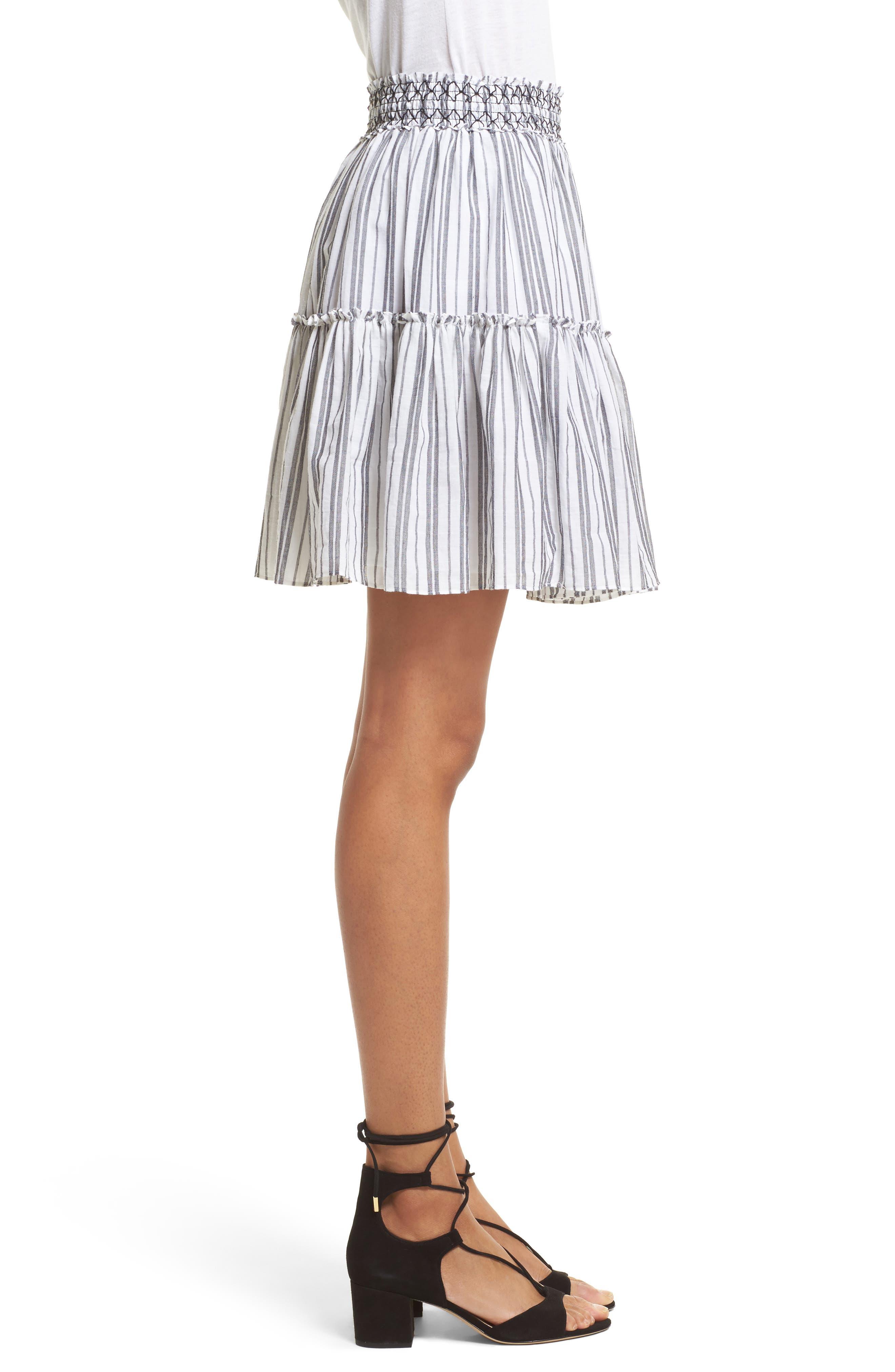 stripe miniskirt,                             Alternate thumbnail 3, color,                             Fresh White/ Black