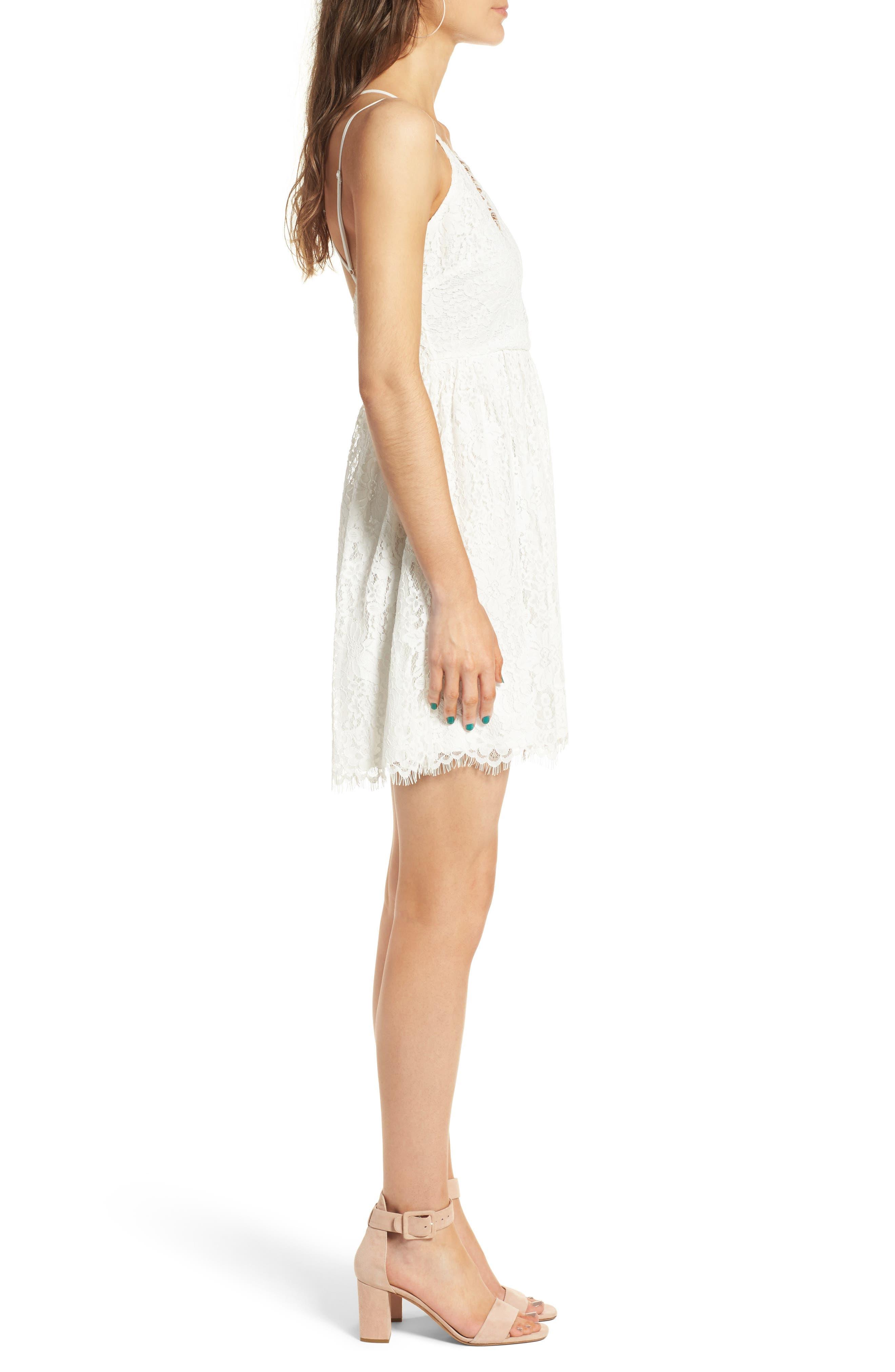 Lace Skater Dress,                             Alternate thumbnail 3, color,                             Ivory