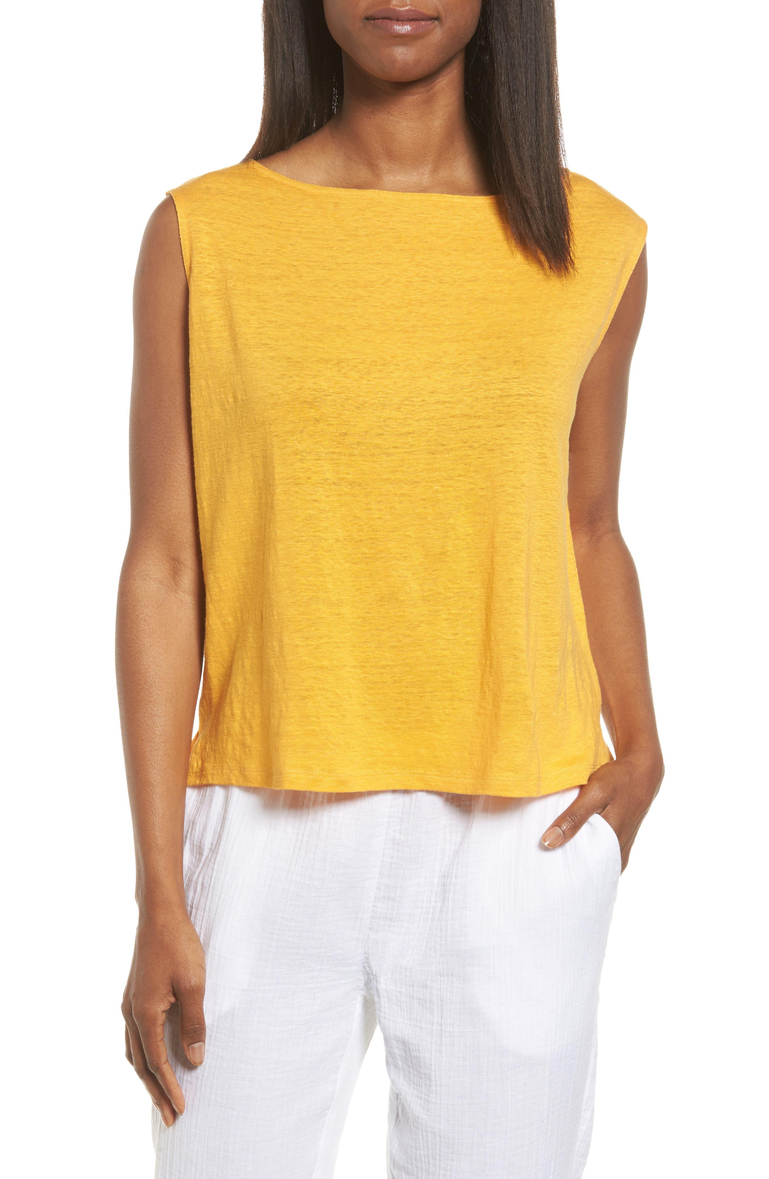 Organic Linen Top,                         Main,                         color, Orangeade