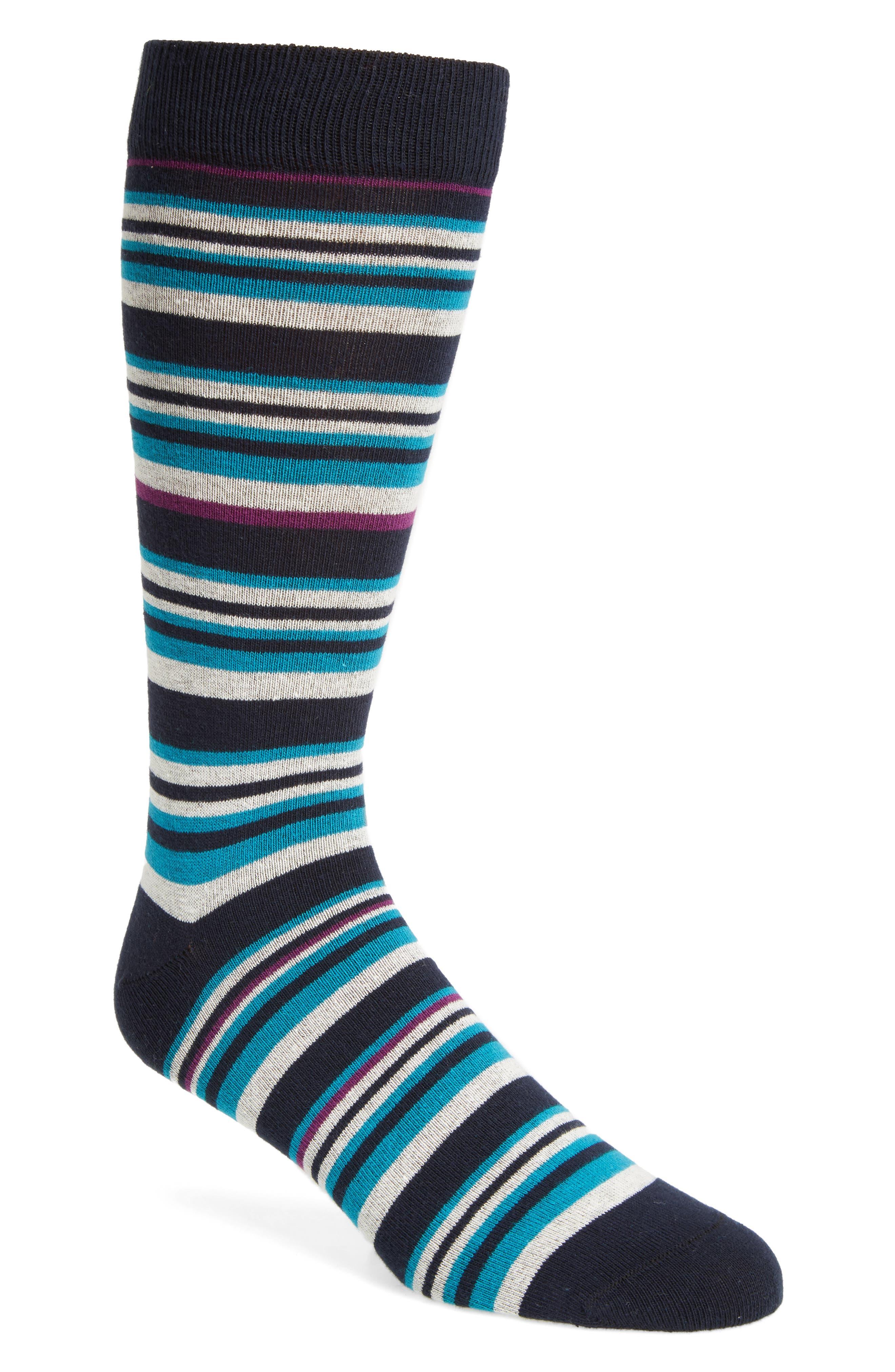 Thin Stripe Crew Socks,                         Main,                         color, Blue