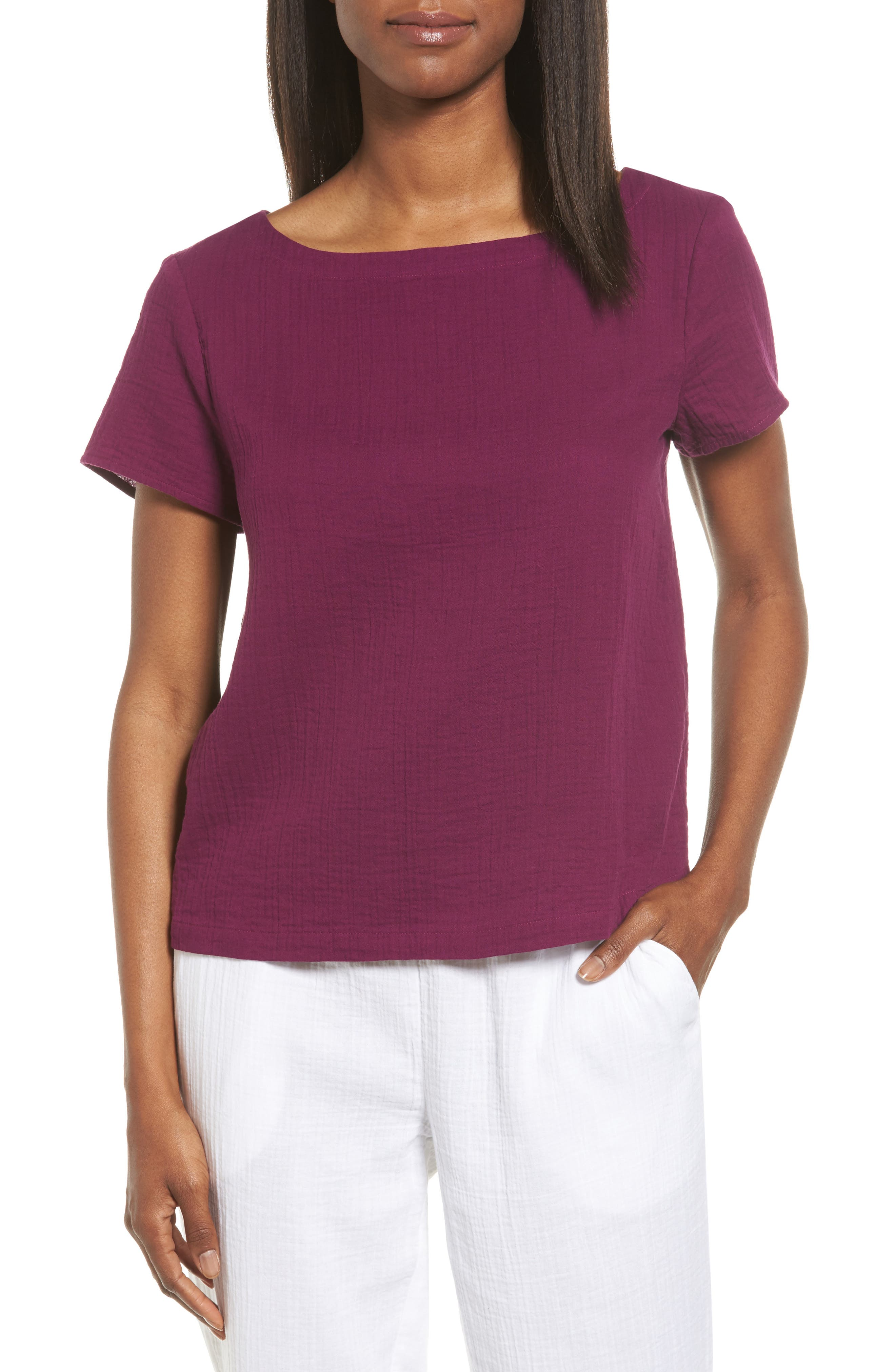 Eileen Fisher Organic Cotton Bateau Neck Top (Regular & Petite)