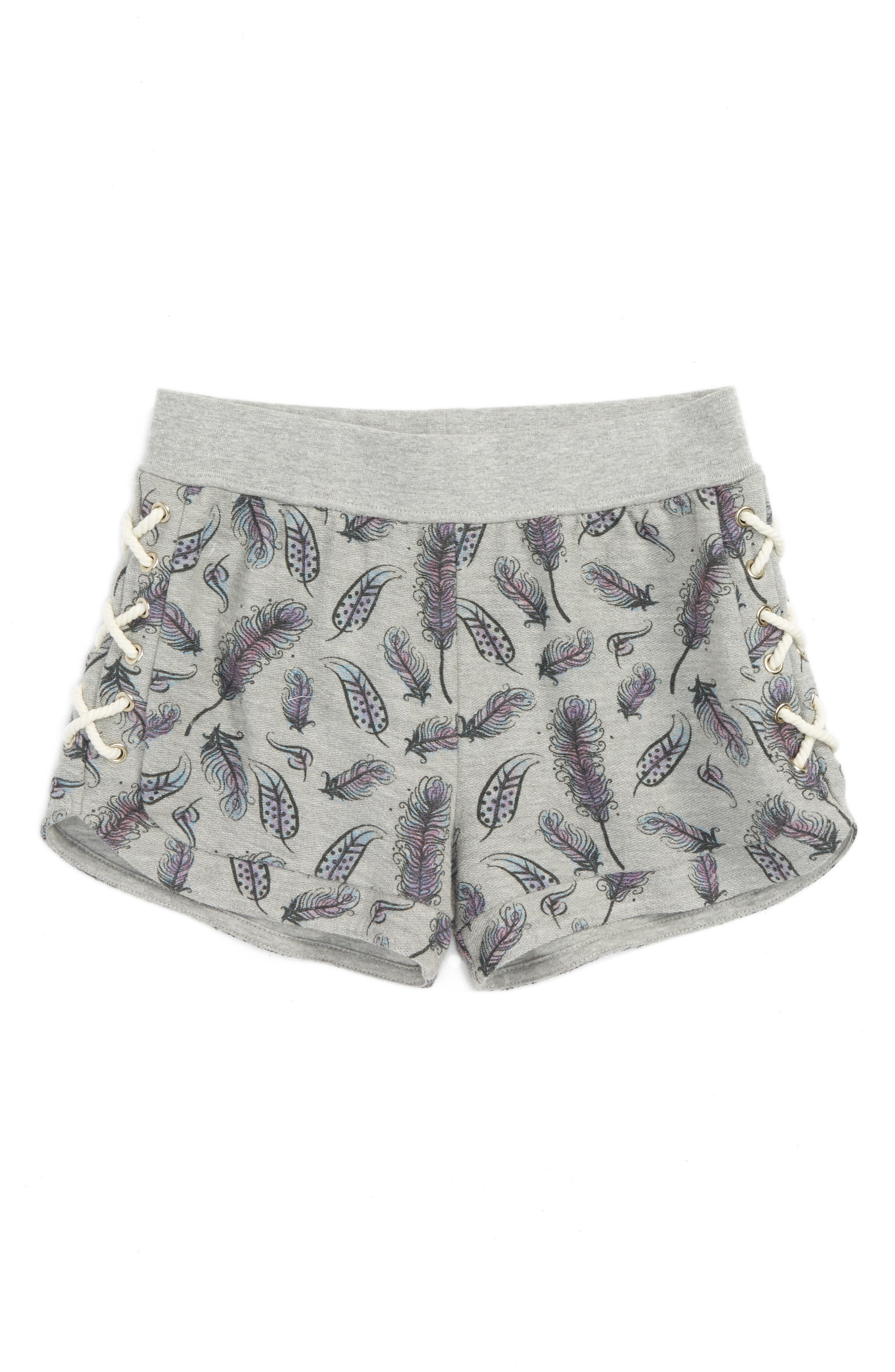 C & C California Feather Print French Terry Shorts (Big Girls)