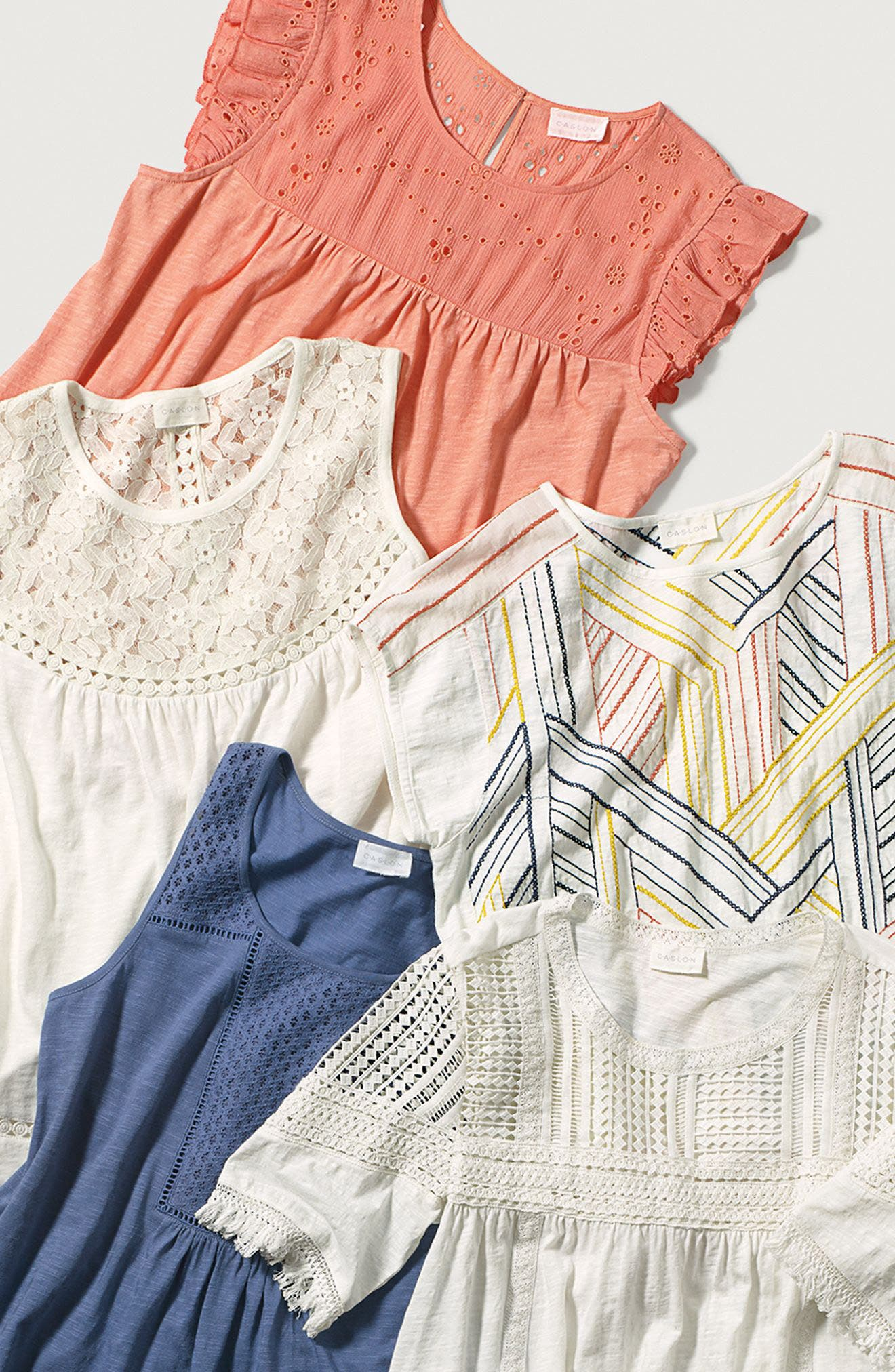 Alternate Image 6  - Caslon® Fringed Lace & Knit Tee (Regular & Petite)