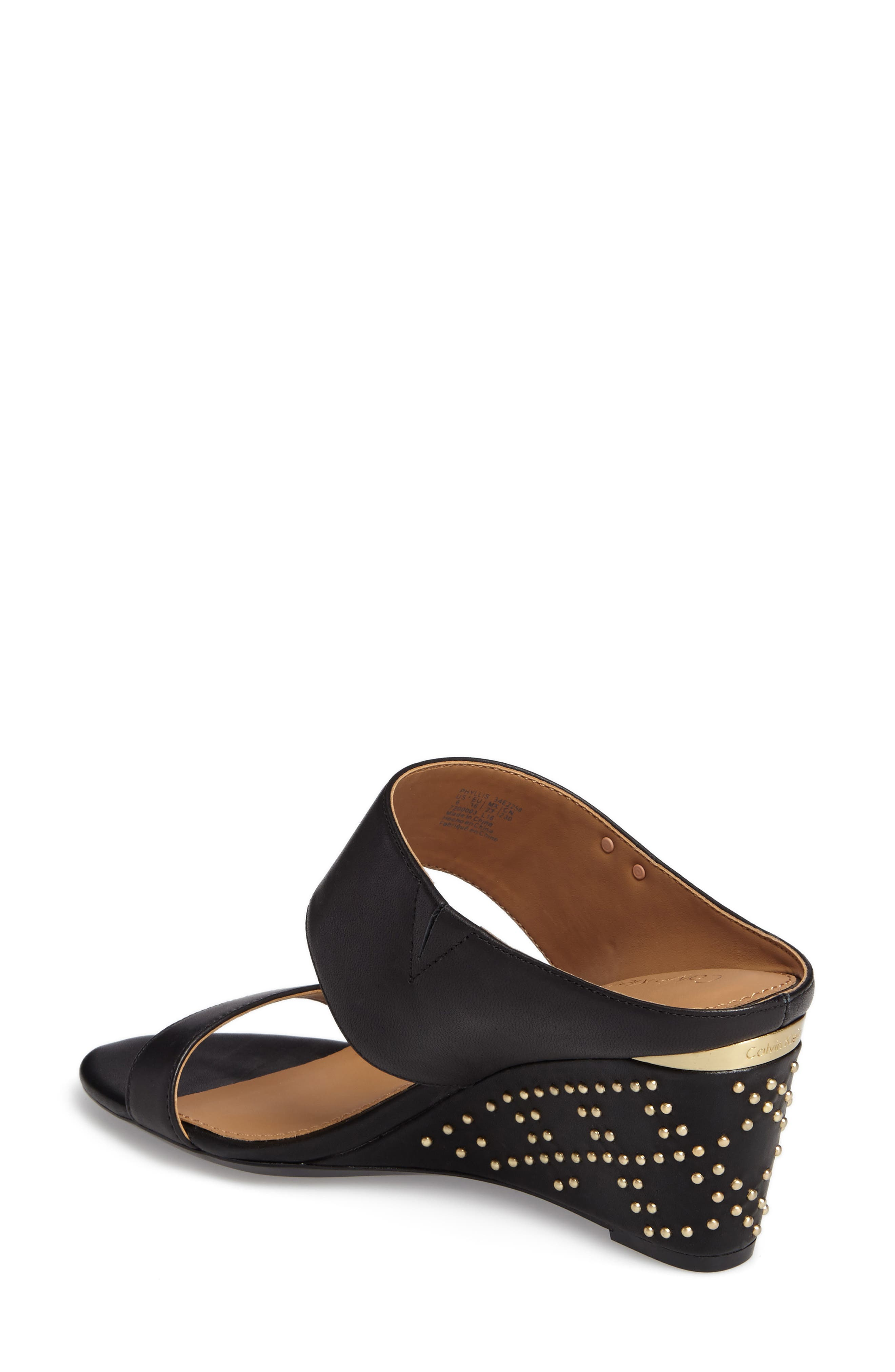 Phyllis Studded Wedge Sandal,                             Alternate thumbnail 2, color,                             Black Leather
