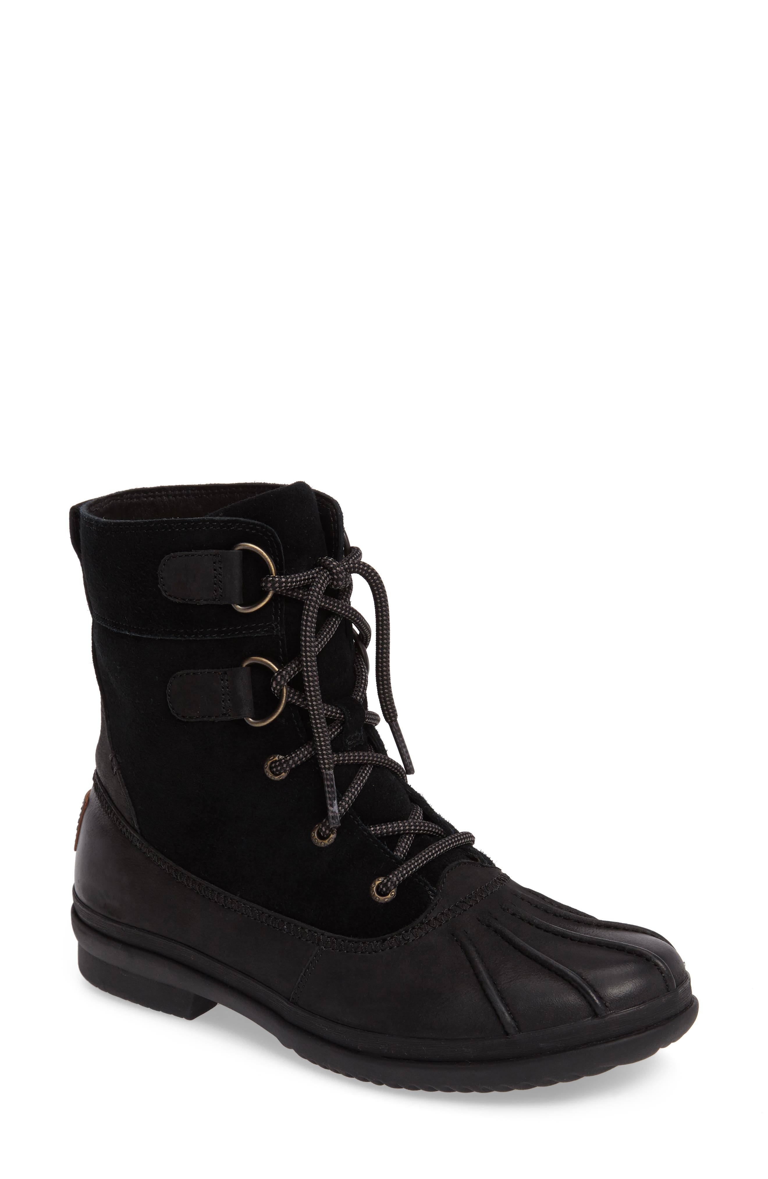 Azaria Waterproof Boot,                             Main thumbnail 1, color,                             Black Leather