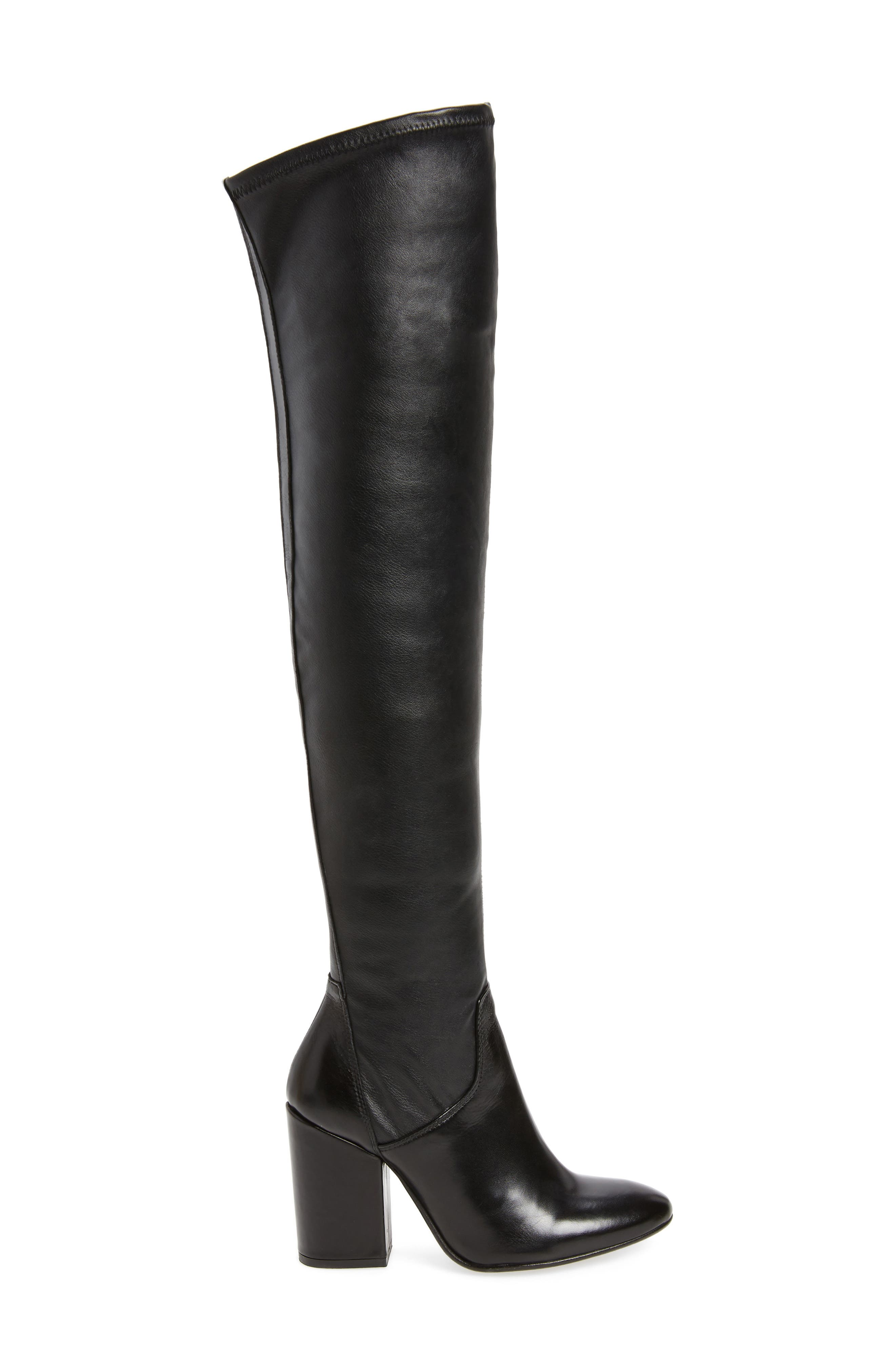 Clarice Over the Knee Boot,                             Alternate thumbnail 3, color,                             Black Leather