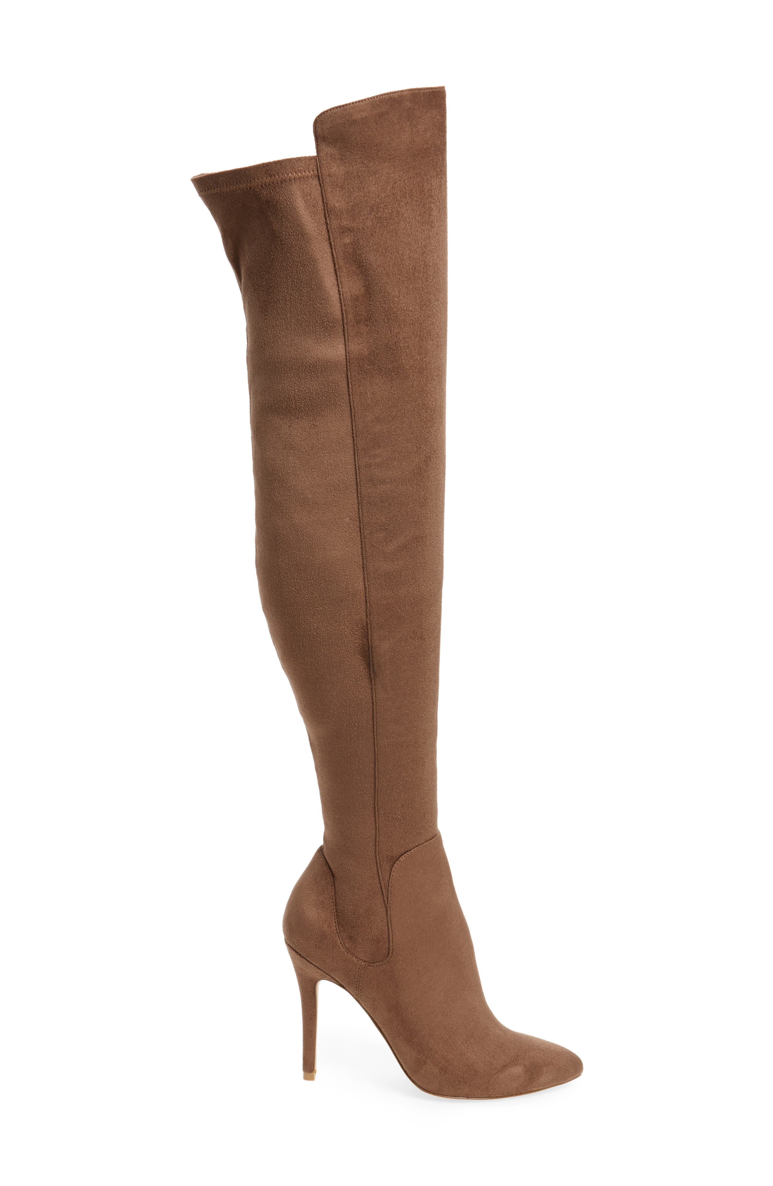 Perfect Over the Knee Boot,                             Alternate thumbnail 3, color,                             Dark Taupe Suede