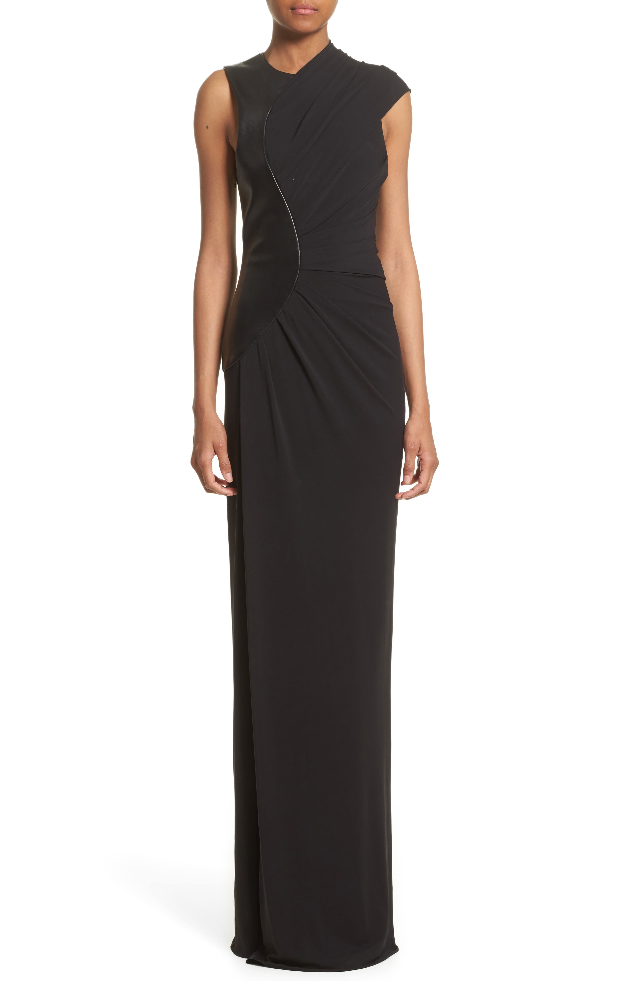 Draped Jersey & Leather Gown,                         Main,                         color, Onyx