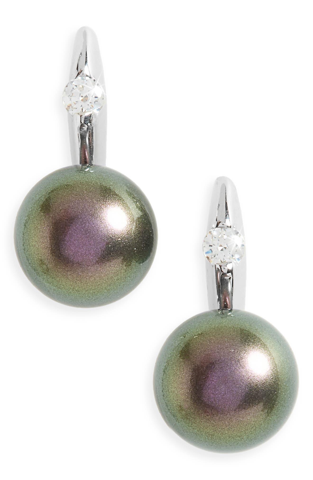 Simulated Pearl Drop Earrings,                         Main,                         color, Grey