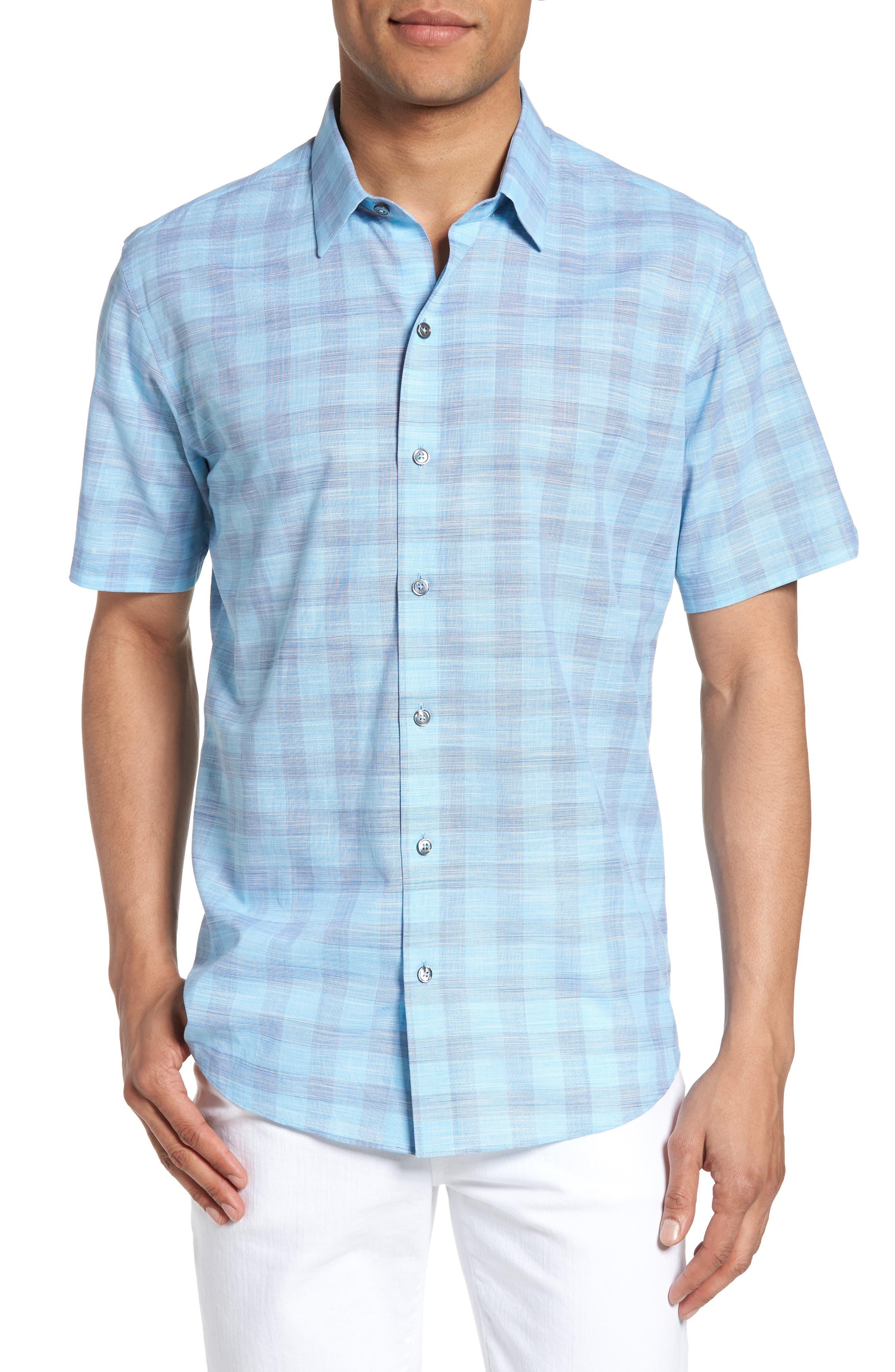 Hasanagic Trim Fit Plaid Sport Shirt,                         Main,                         color, Turquoise