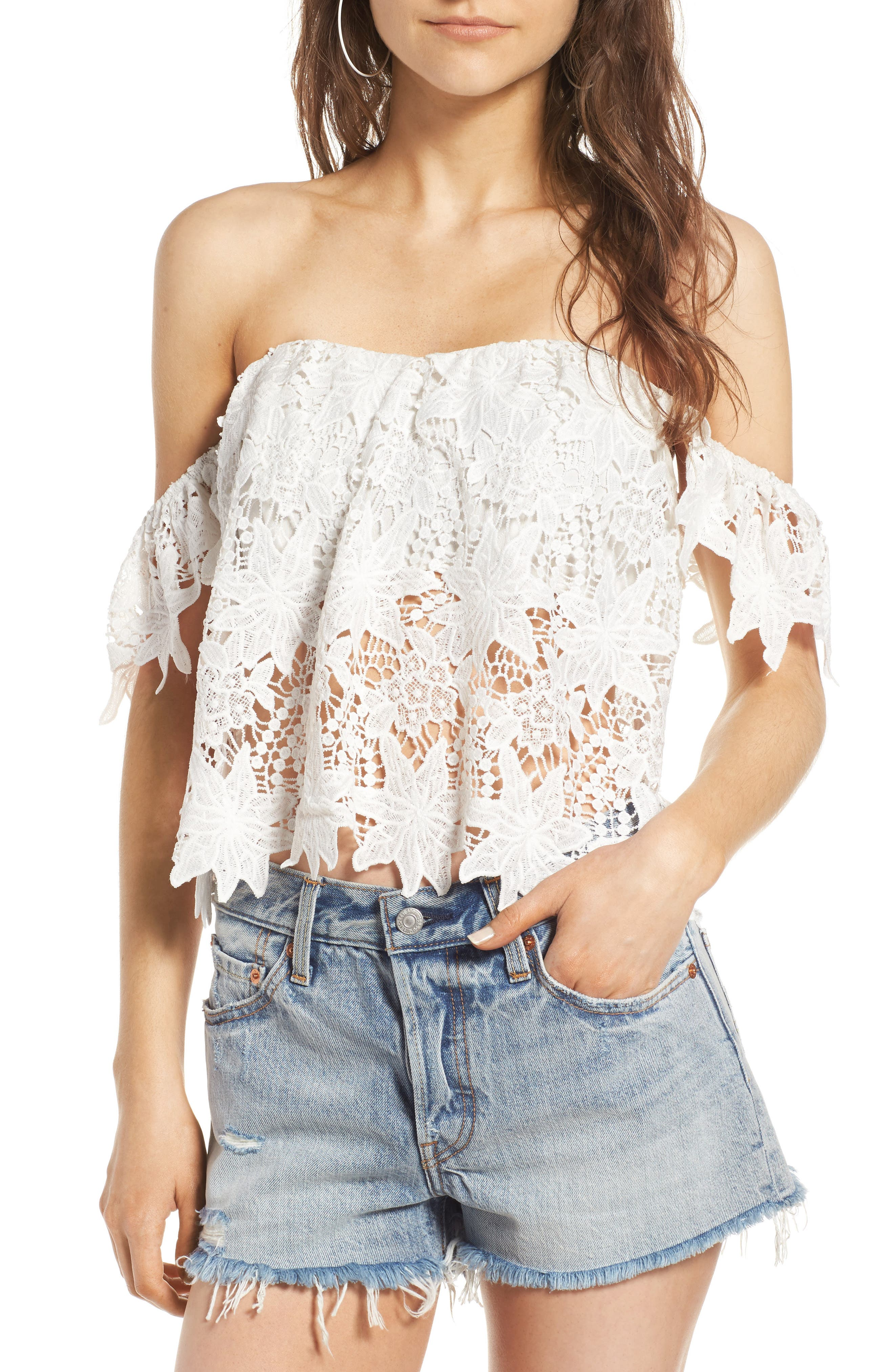 Alternate Image 1 Selected - ASTR the Label Adela Off the Shoulder Lace Top
