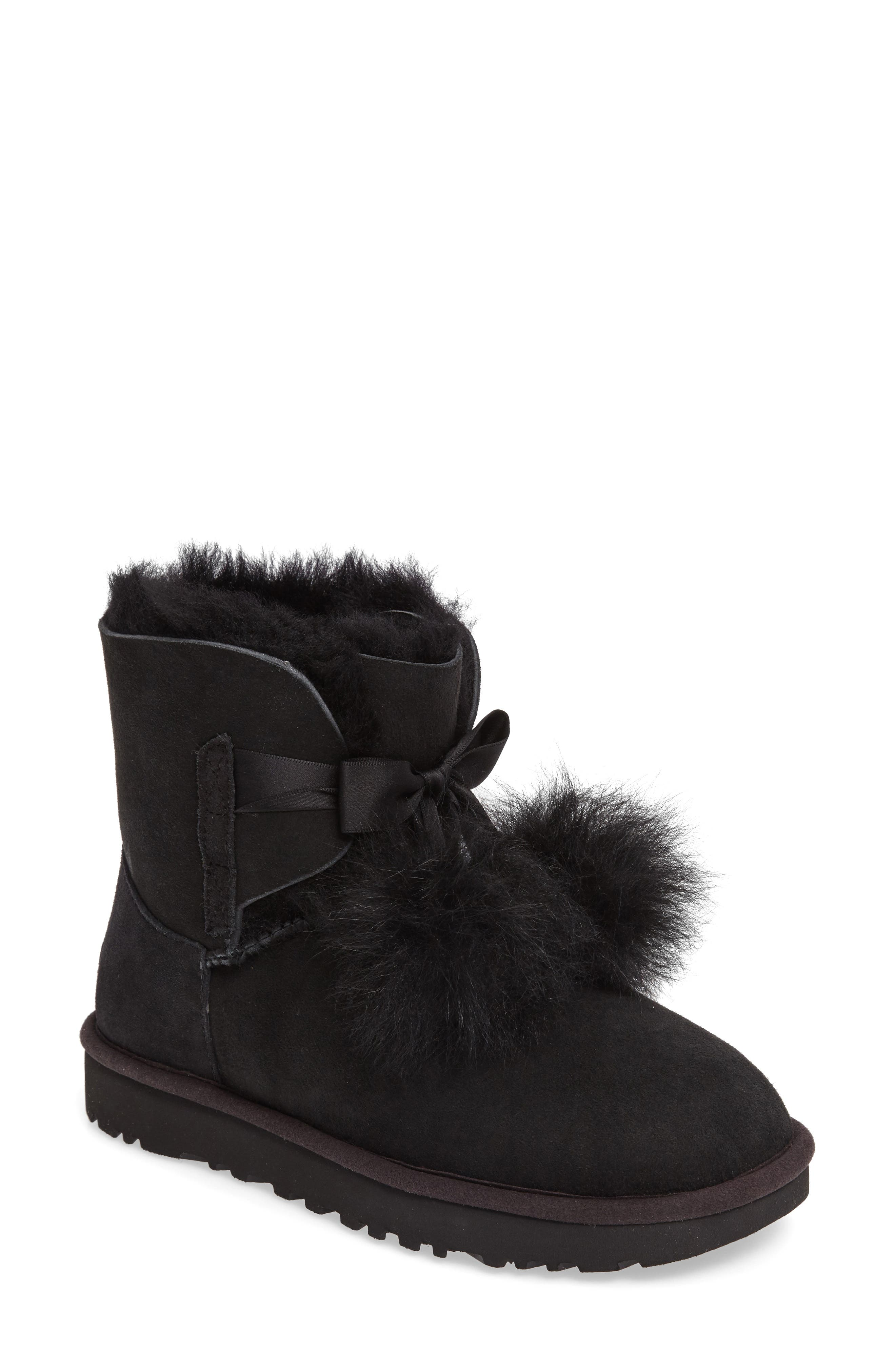 Gita Genuine Shearling Boot,                             Main thumbnail 1, color,                             Black Suede