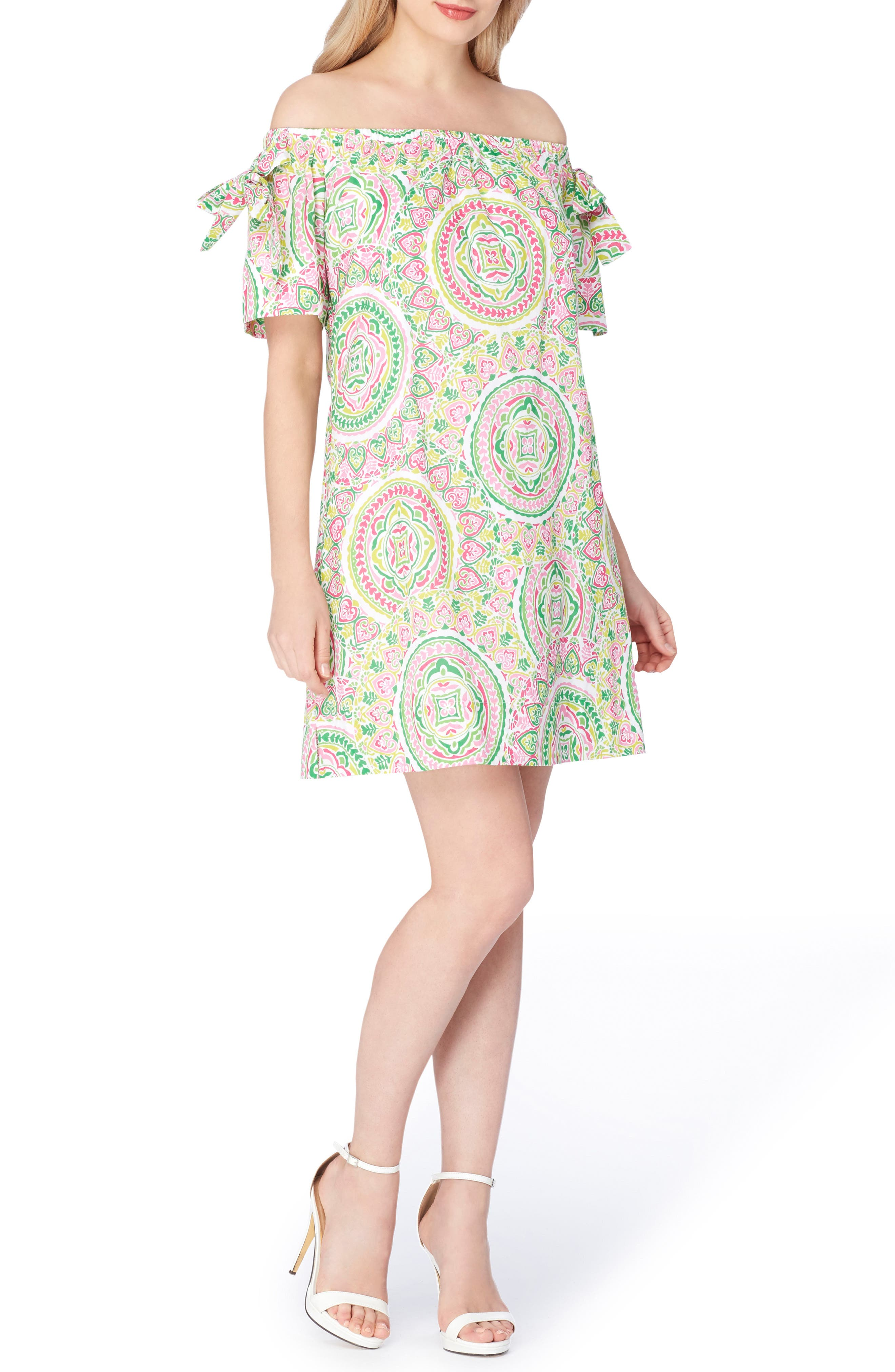 Off the Shoulder Shift Dress,                         Main,                         color, White/ Peony/ Green