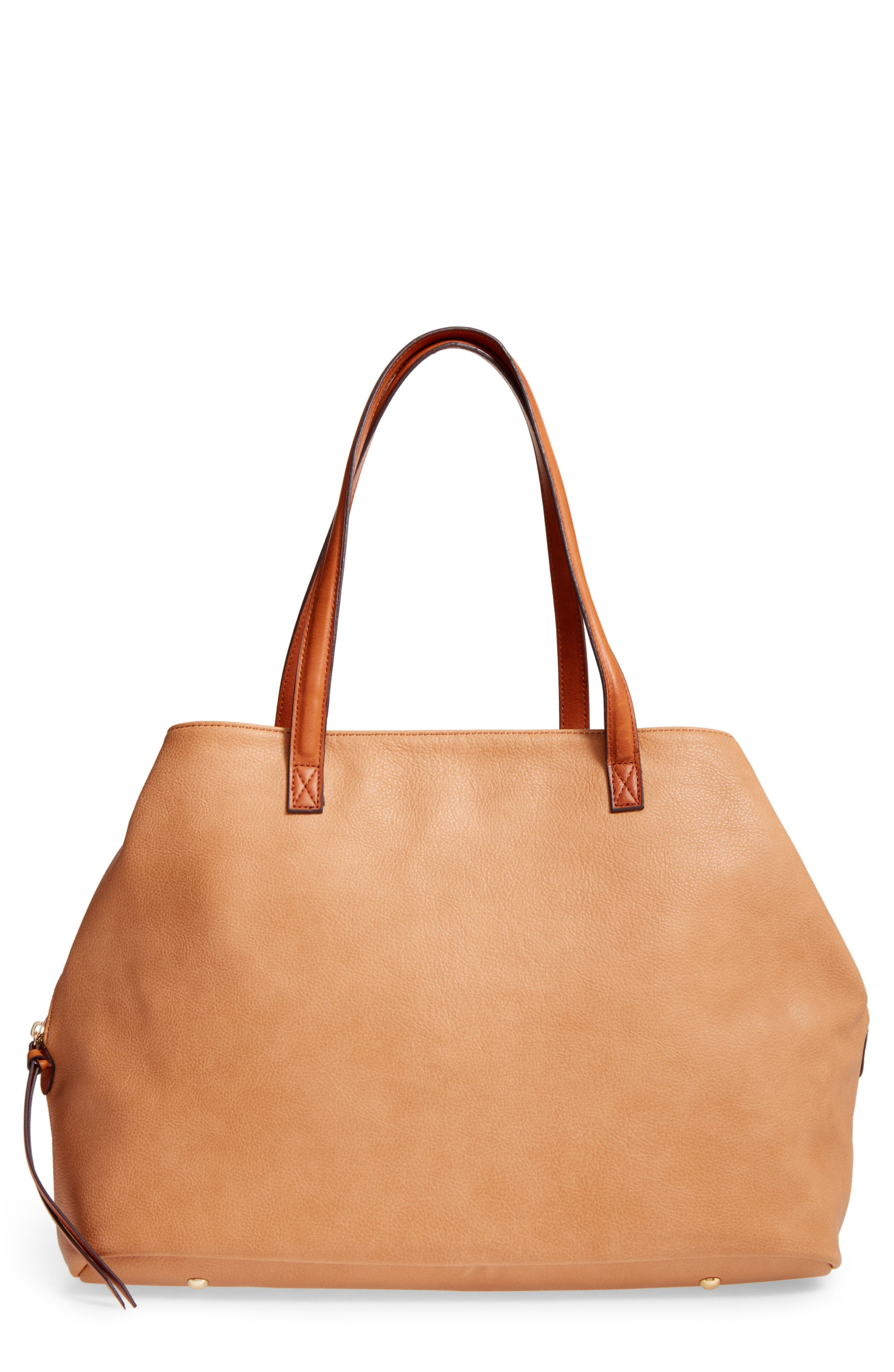 Millar Faux Leather Tote,                             Main thumbnail 1, color,                             Camel