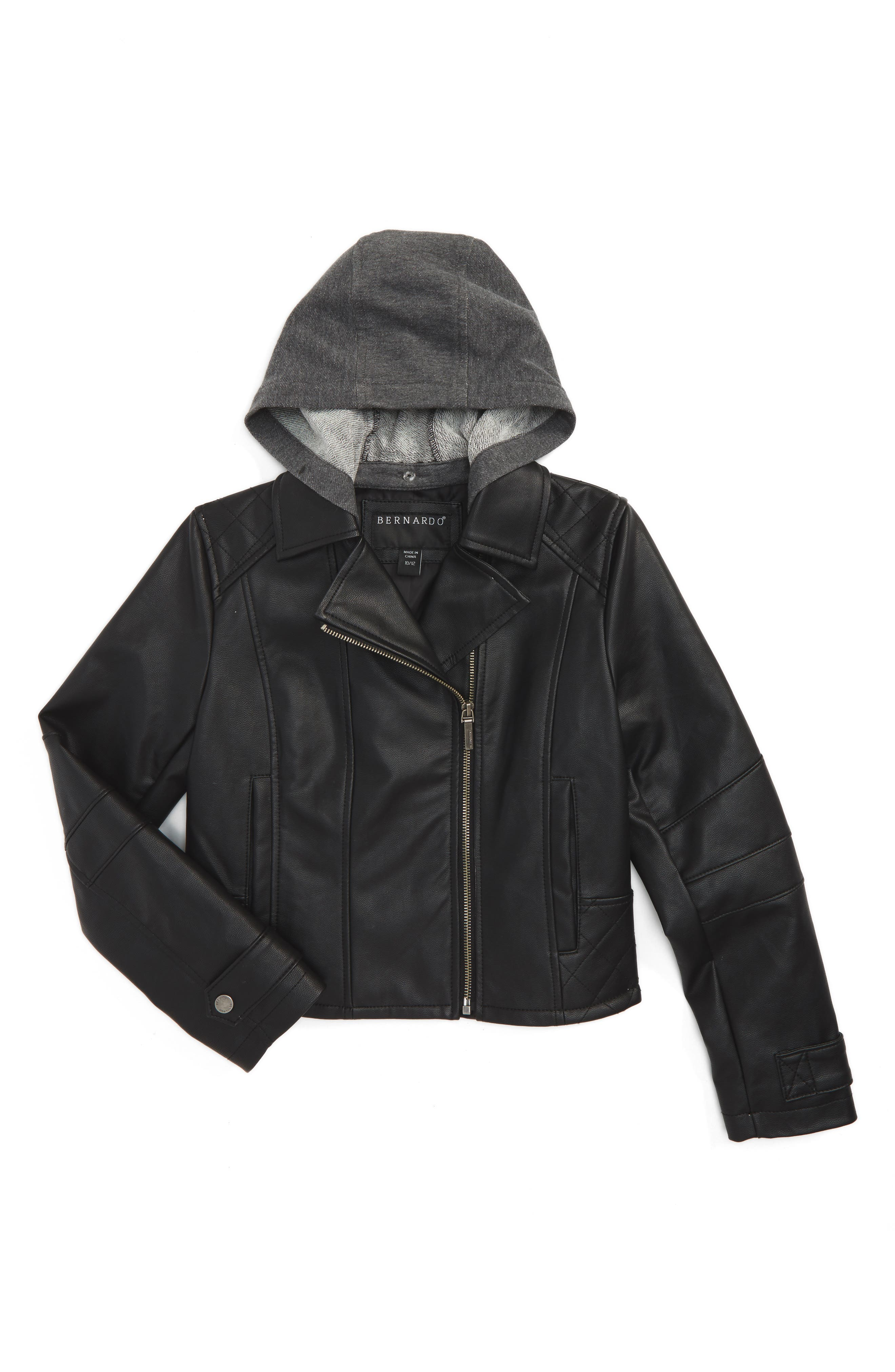 Bernardo Hooded Faux Leather Jacket (Big Girls)