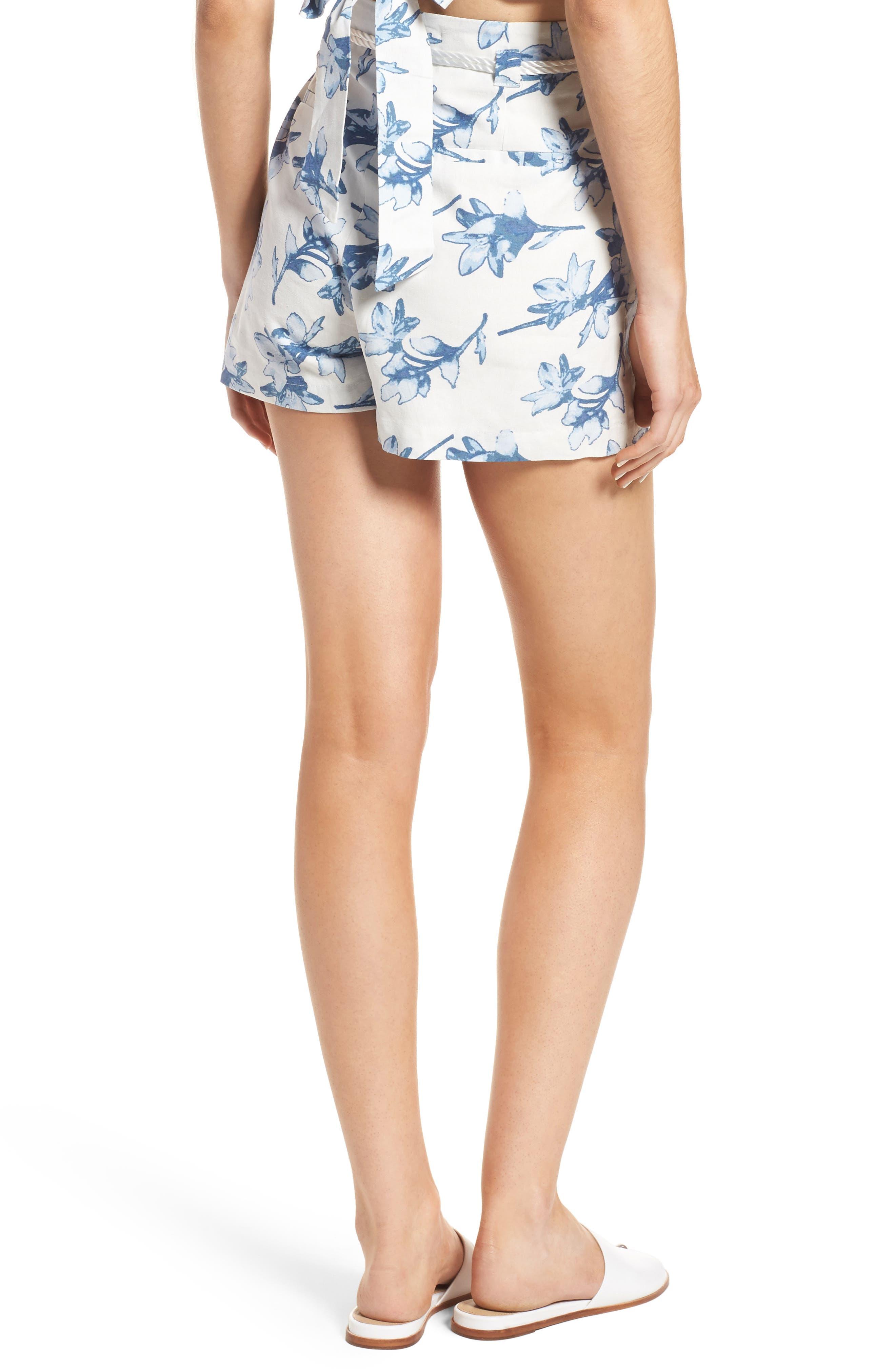 High Waist Linen Shorts,                             Alternate thumbnail 3, color,                             White