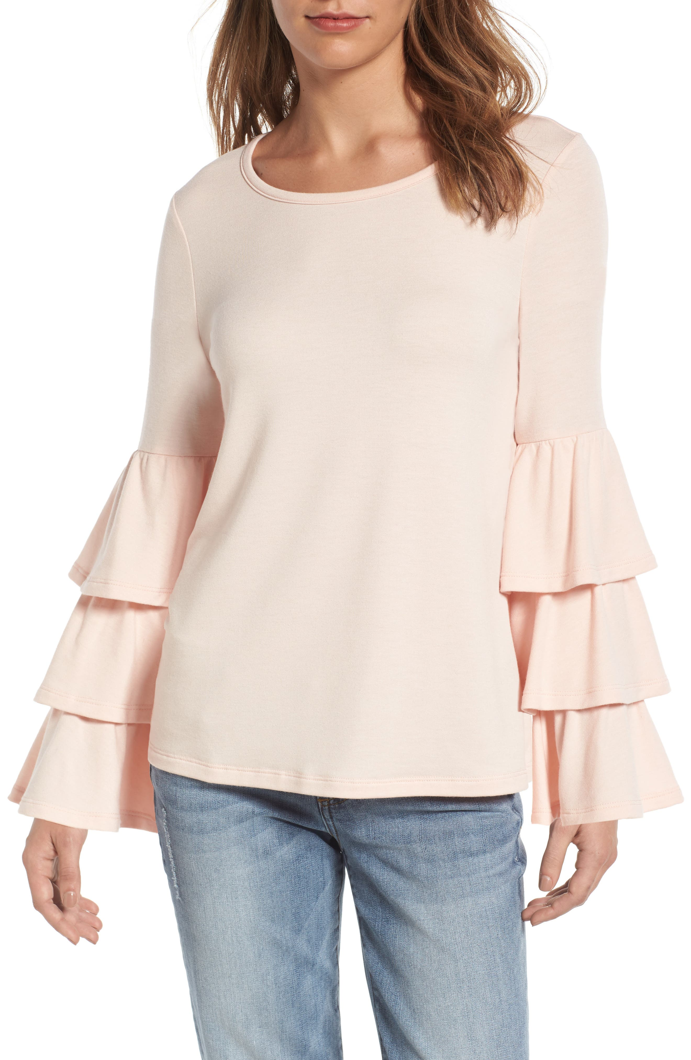 Main Image - Pleione Tiered Bell Sleeve Knit Top (Regular & Petite)