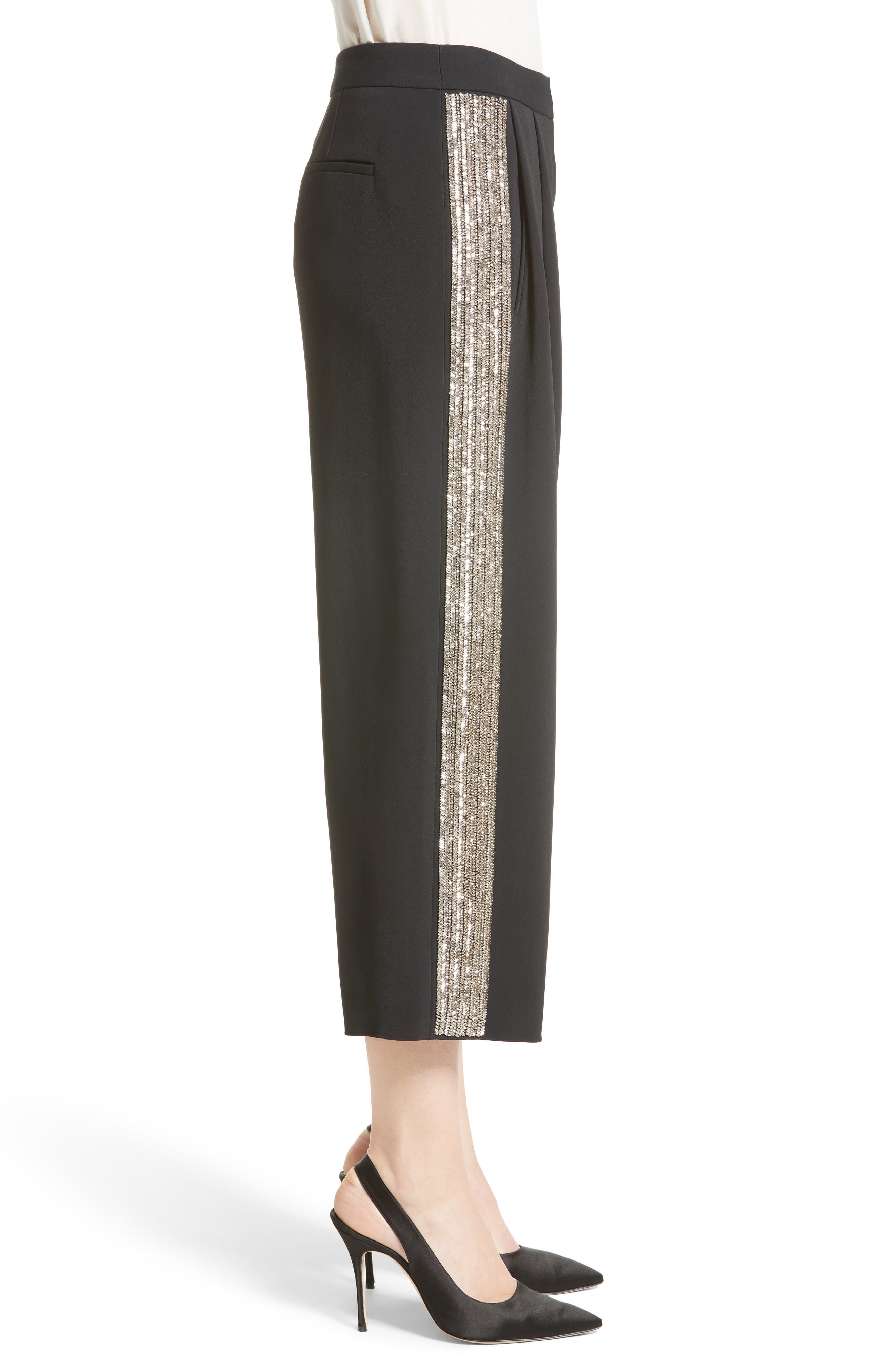 Adam Lippes Embellished Wide Leg Crop Pants