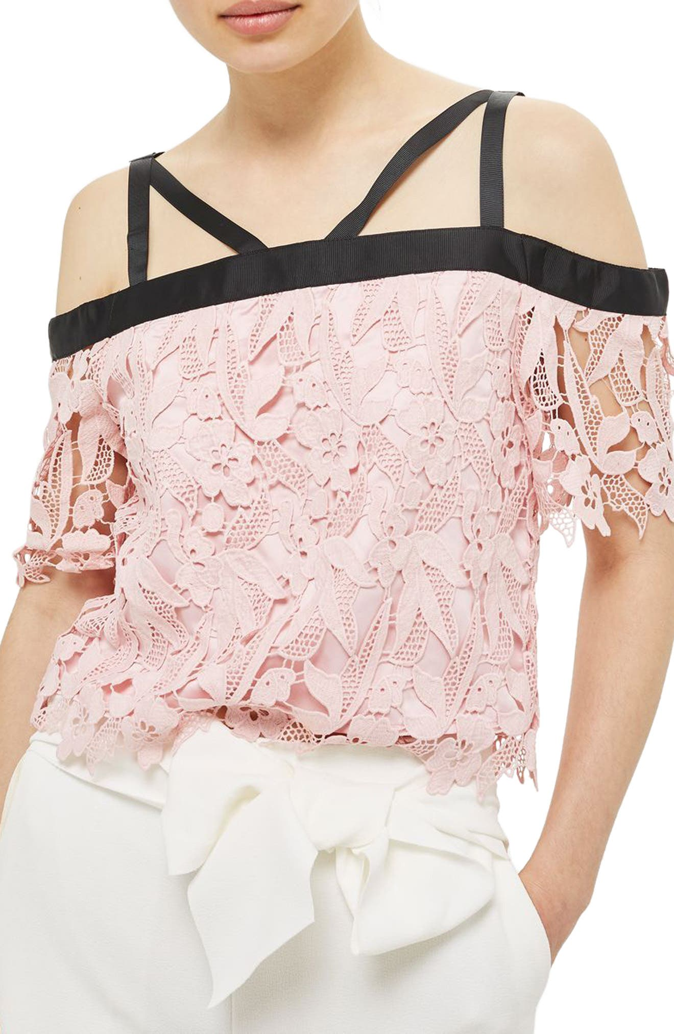 Main Image - Topshop Strappy Lace Top