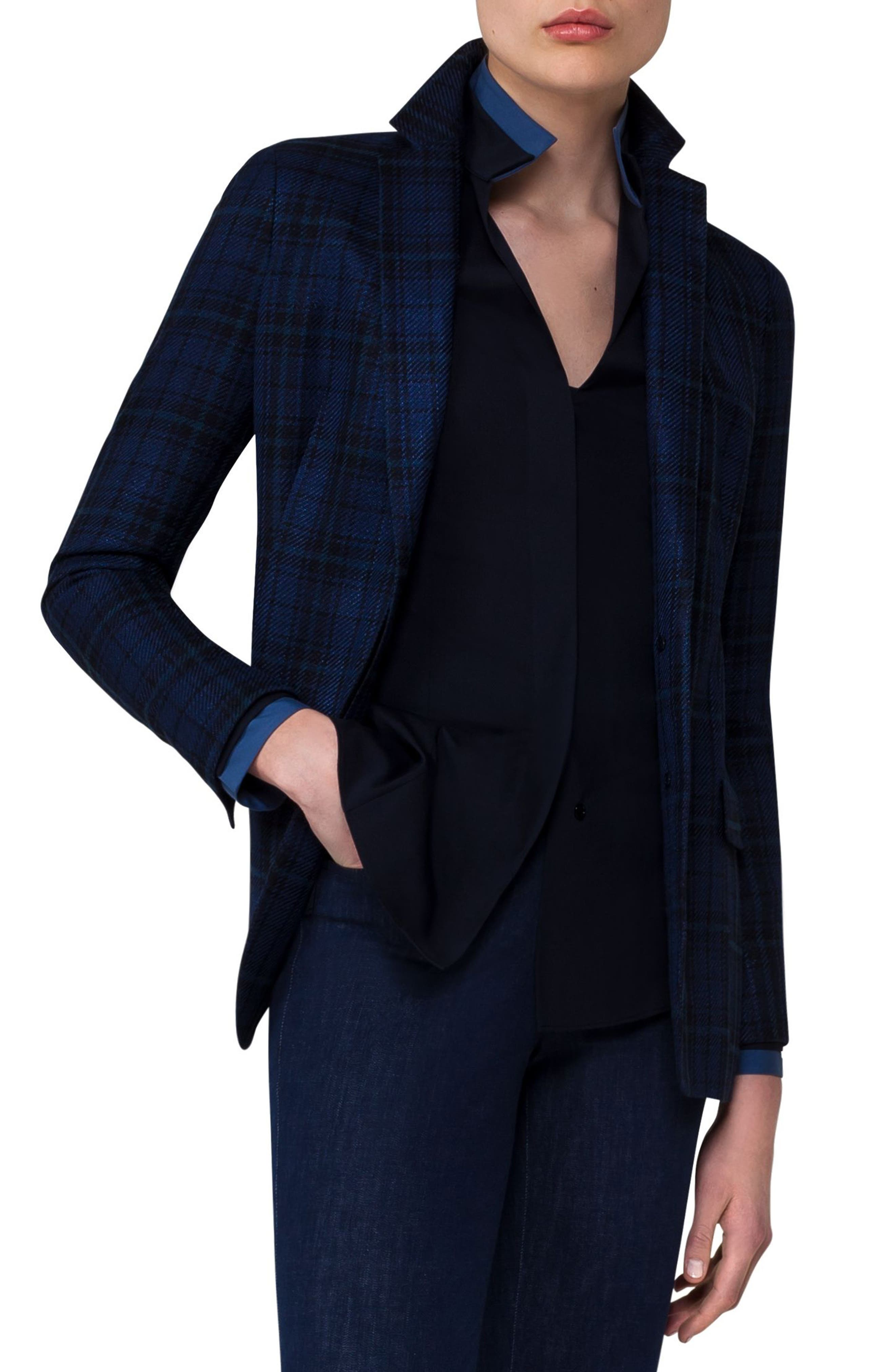 Check Silk & Cotton Jacket,                             Alternate thumbnail 3, color,                             Midnight