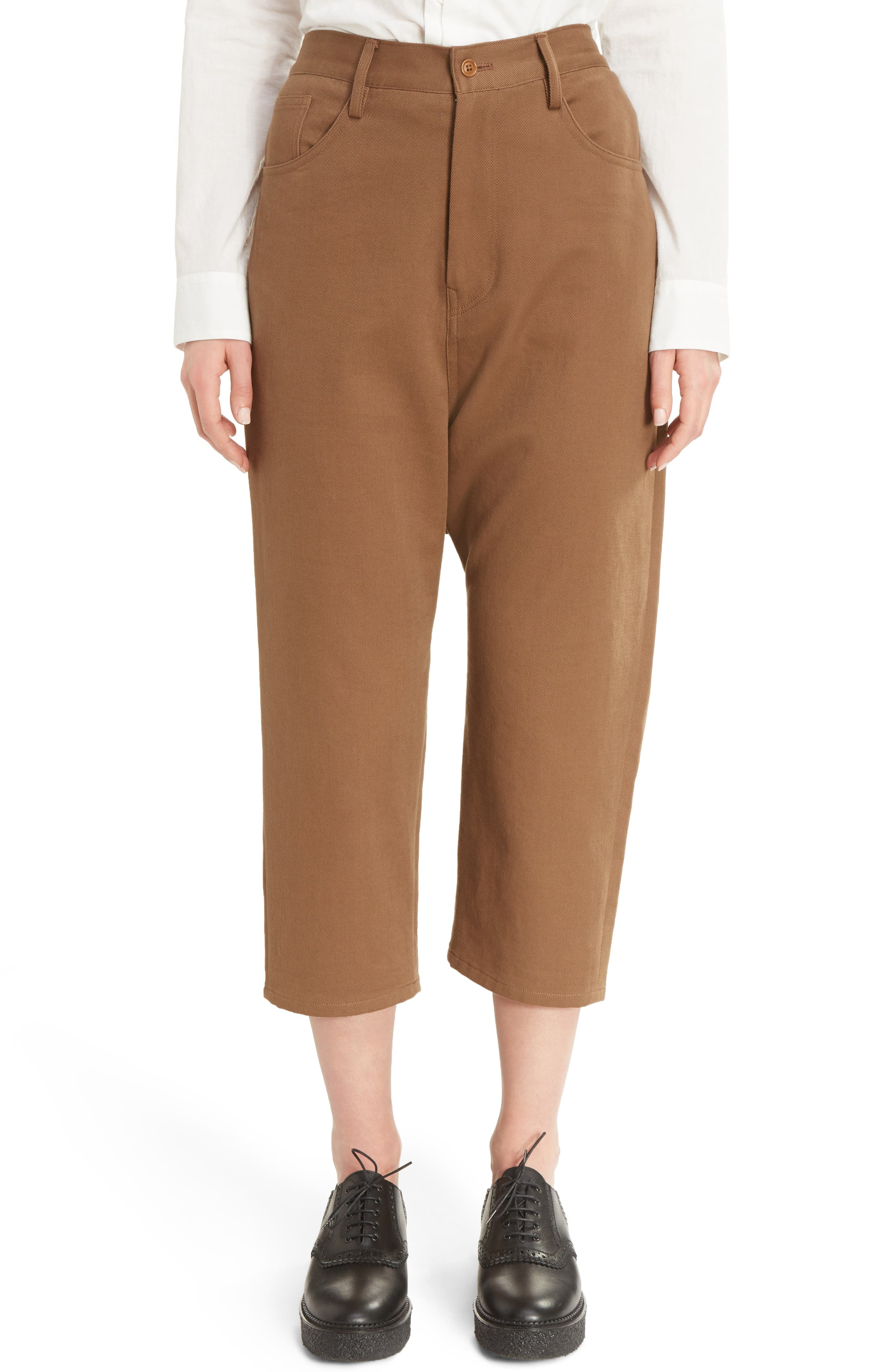 U-Drop Crotch Pants,                         Main,                         color, Brown
