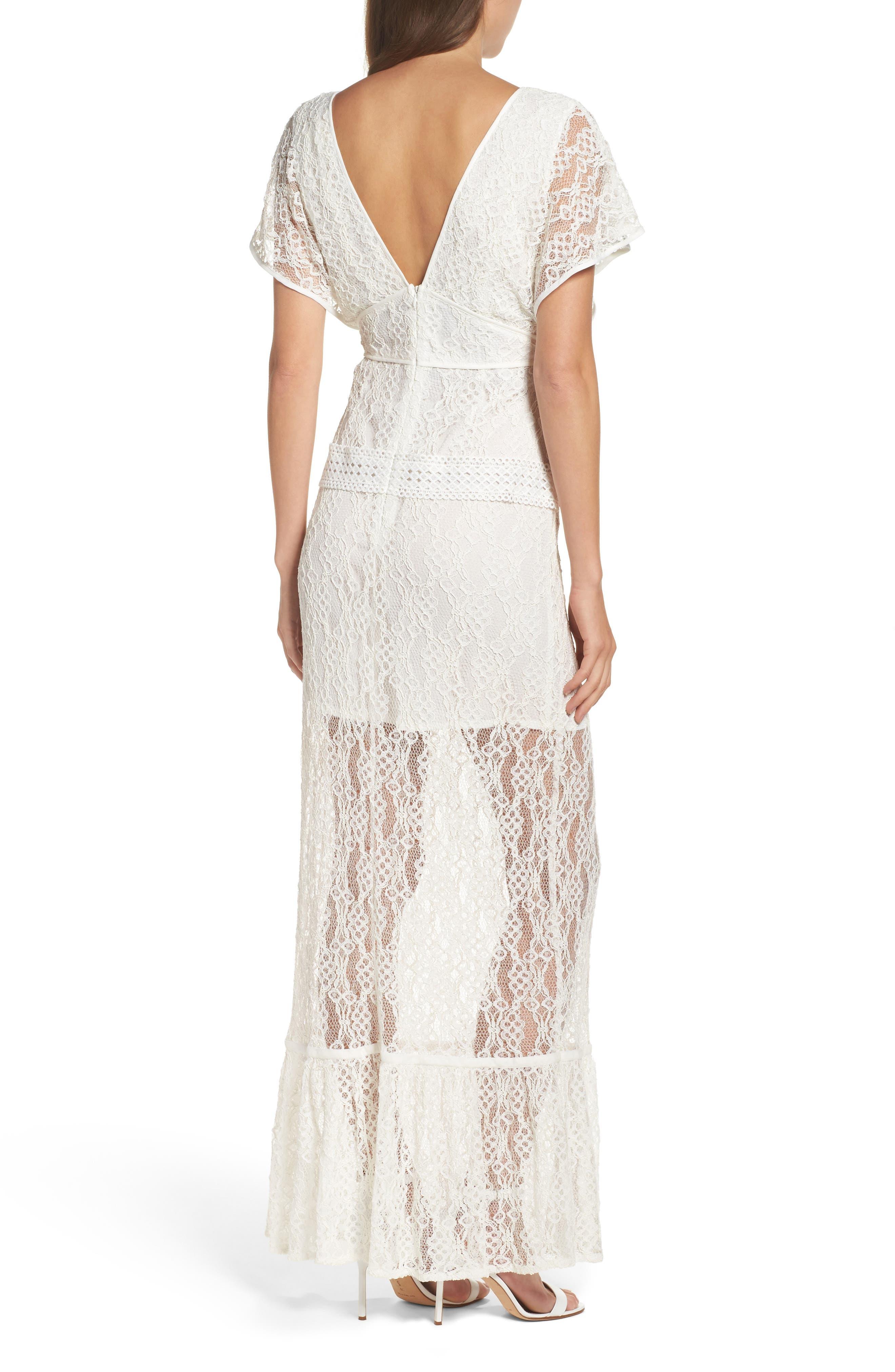 Alternate Image 2  - Foxiedox Cecilia Lace Sheath Gown