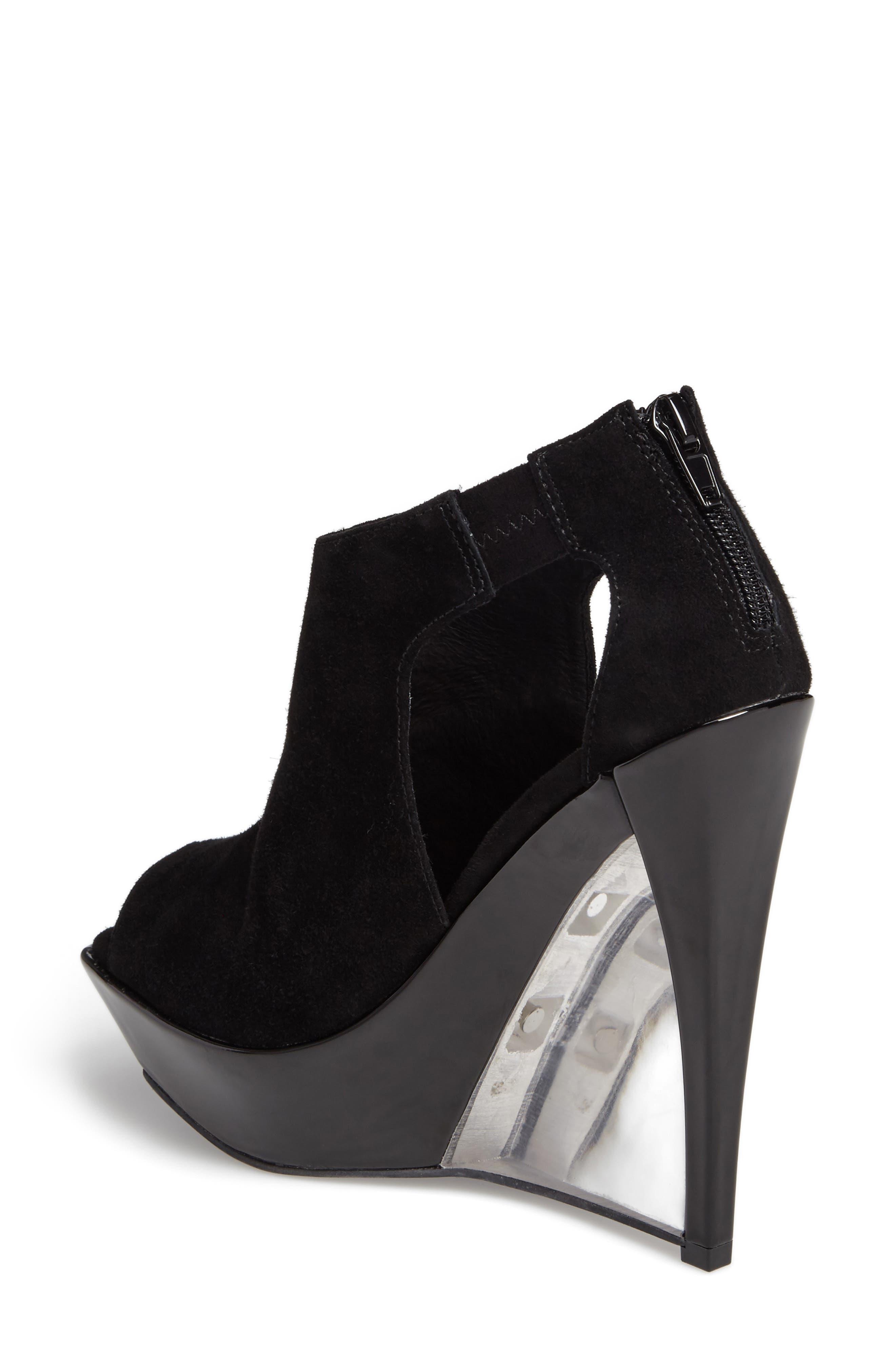 Dunya Cutout Platform Wedge Sandal,                             Alternate thumbnail 2, color,                             Black Clear Leather