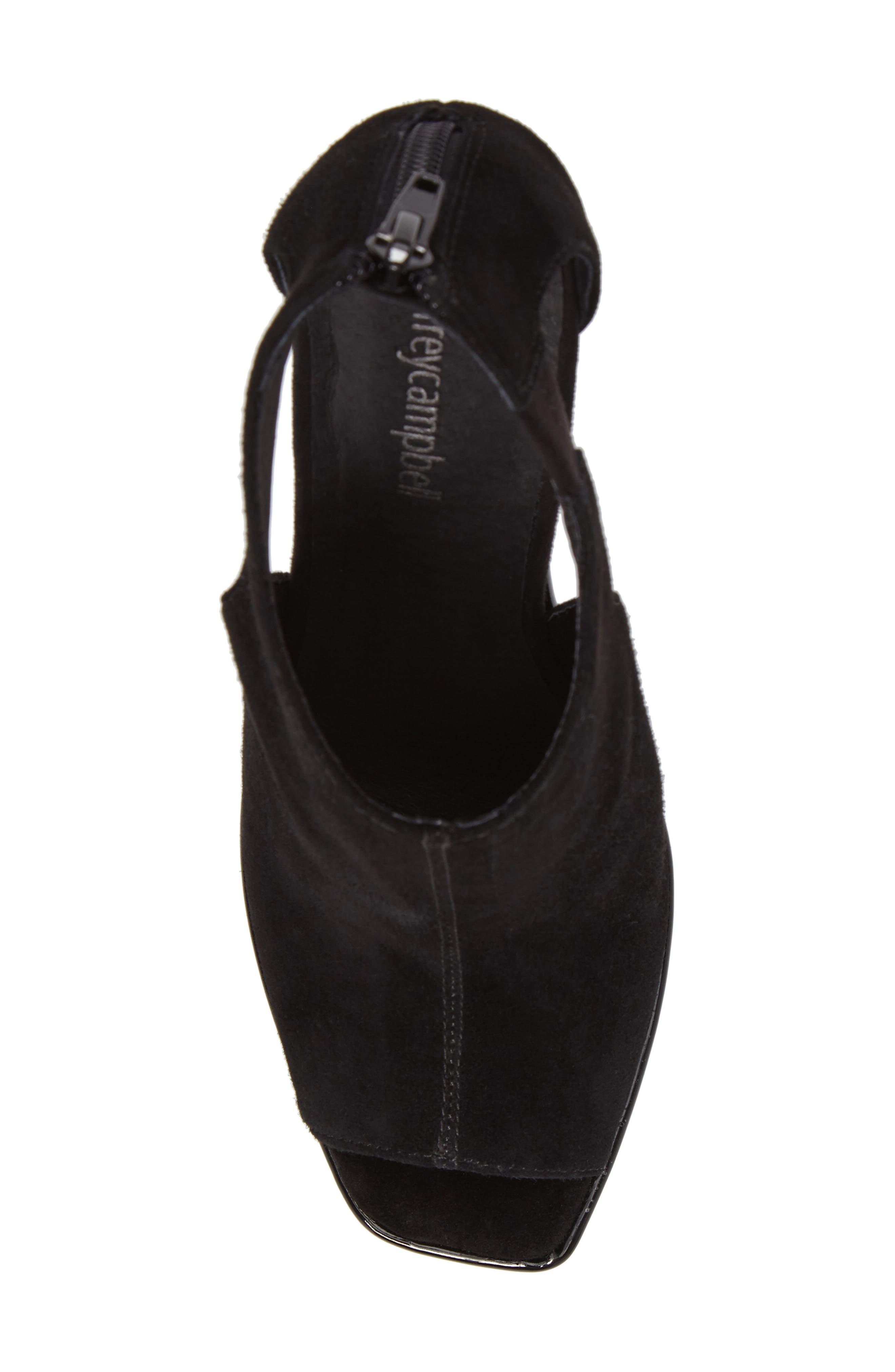 Dunya Cutout Platform Wedge Sandal,                             Alternate thumbnail 5, color,                             Black Clear Leather