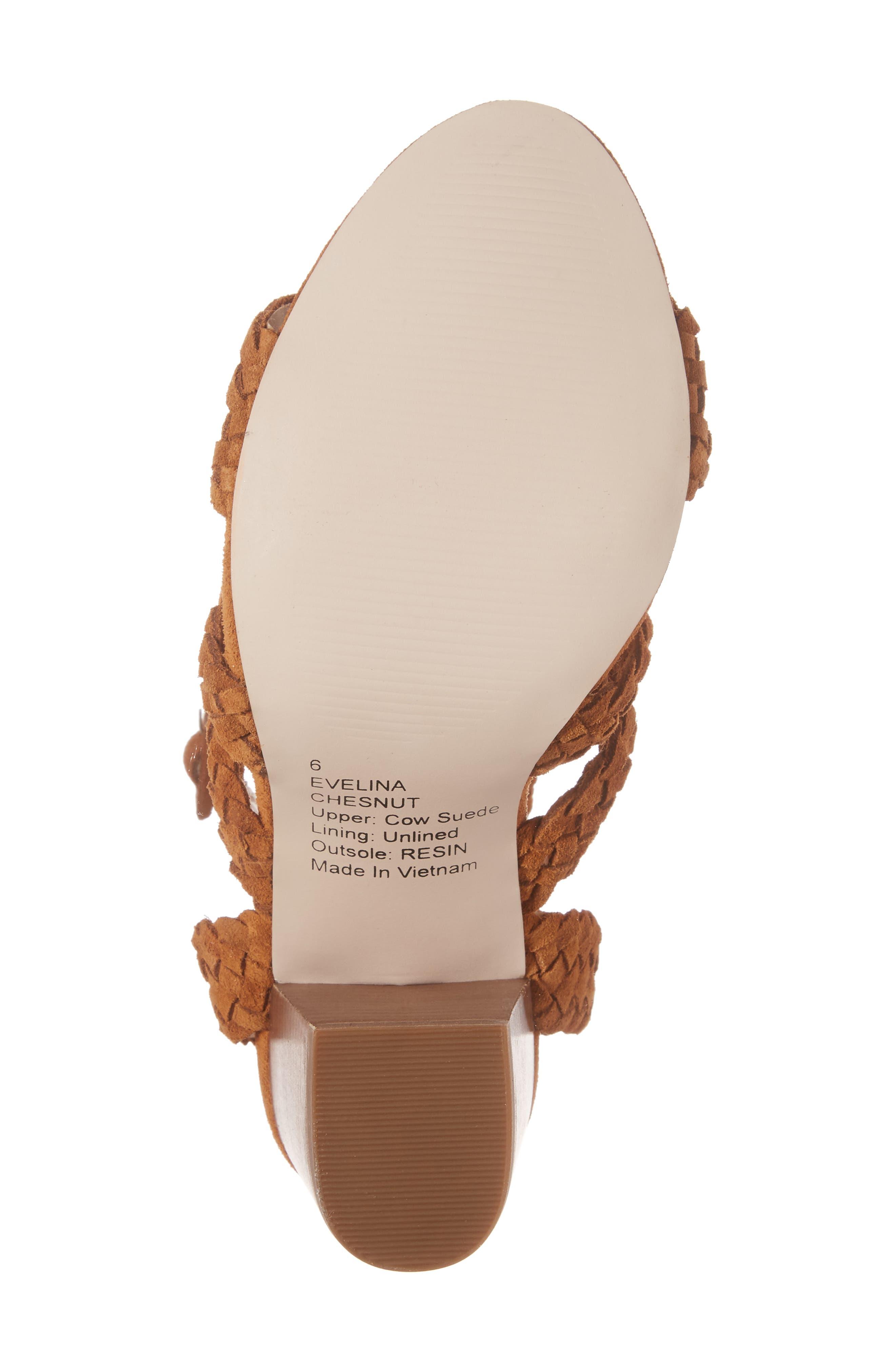 Evelina Block Heel Sandal,                             Alternate thumbnail 6, color,                             Chestnut