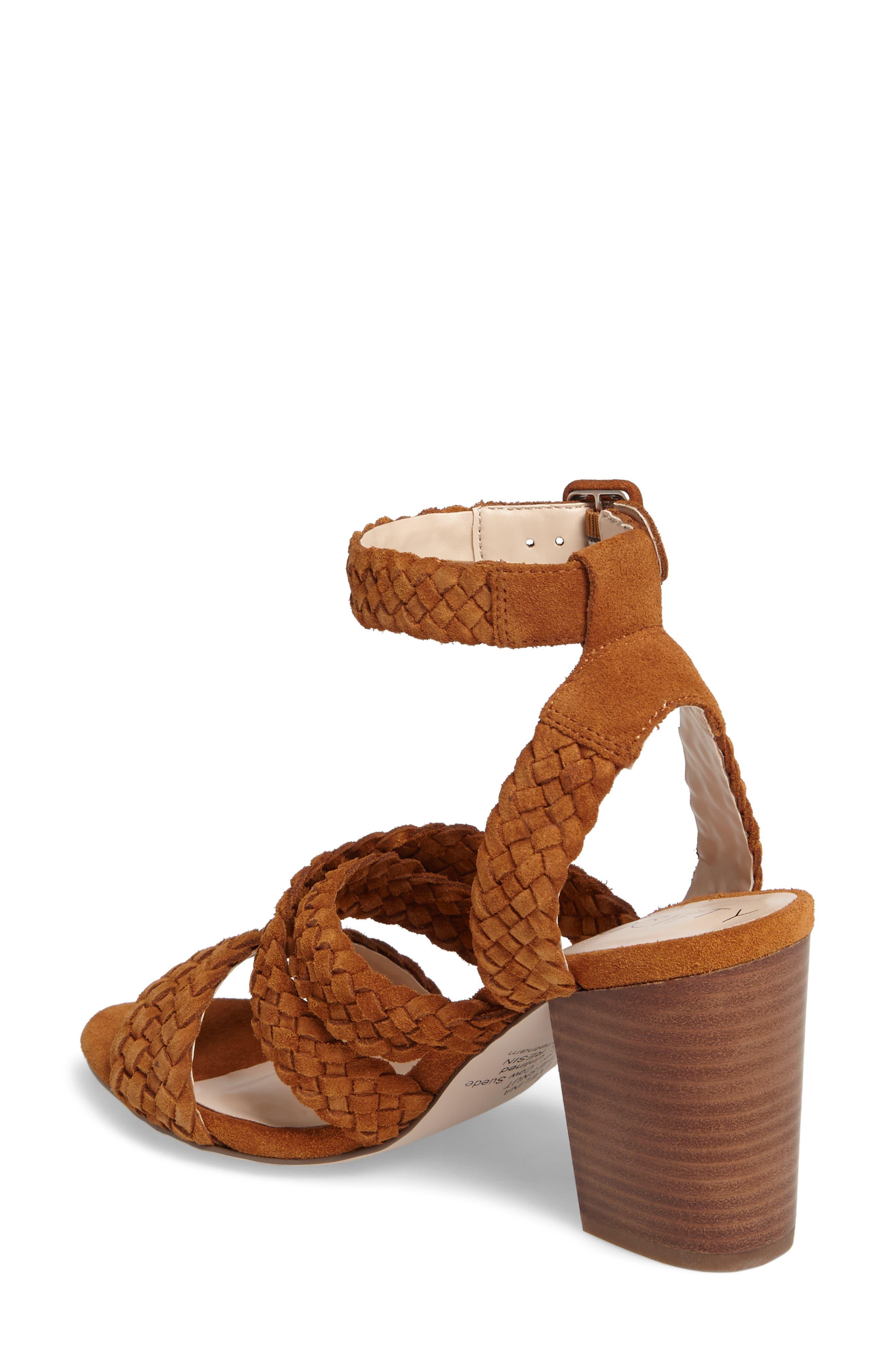 Evelina Block Heel Sandal,                             Alternate thumbnail 2, color,                             Chestnut