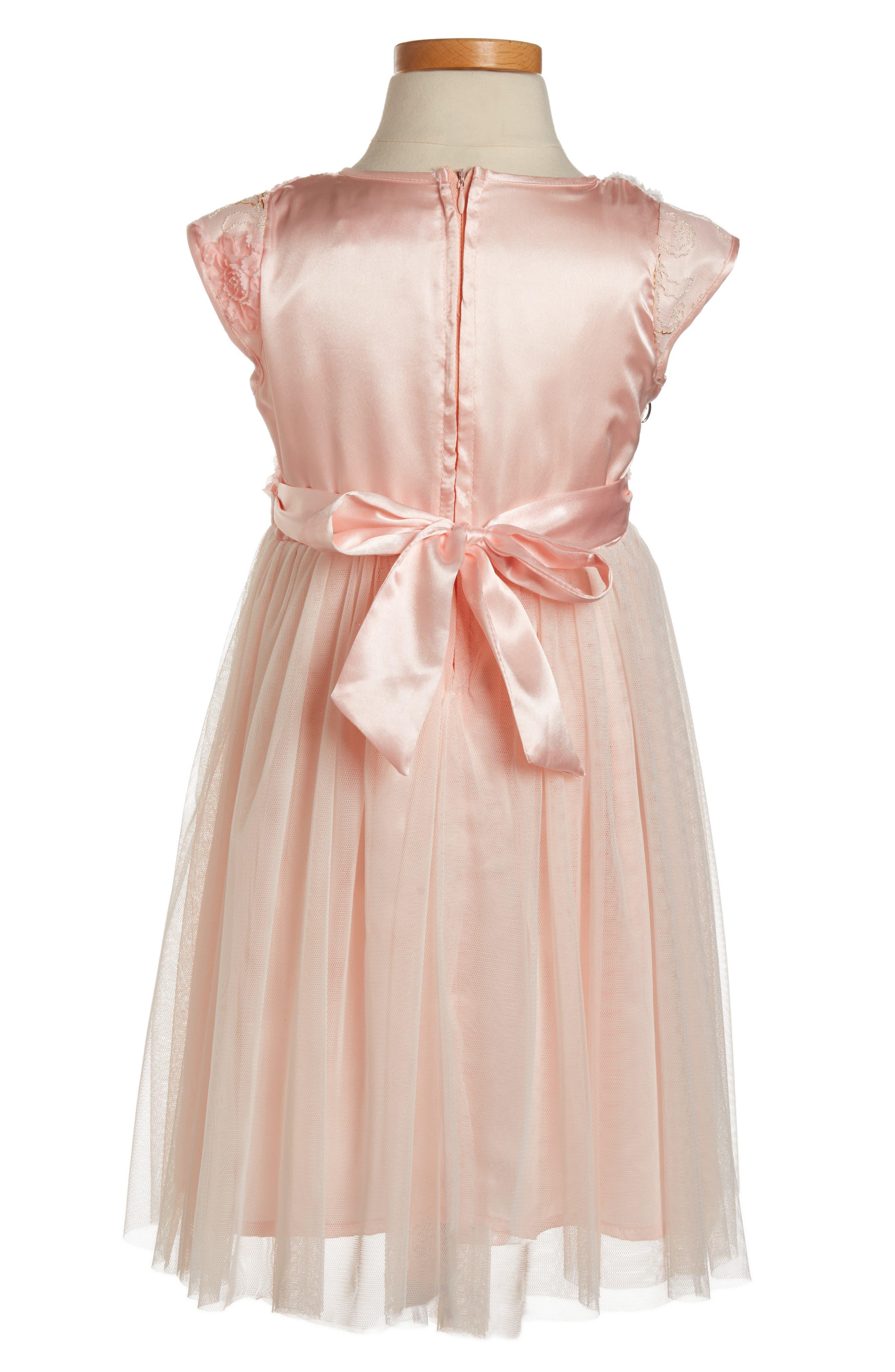 Golden Trim Flower Dress,                             Alternate thumbnail 2, color,                             Peach
