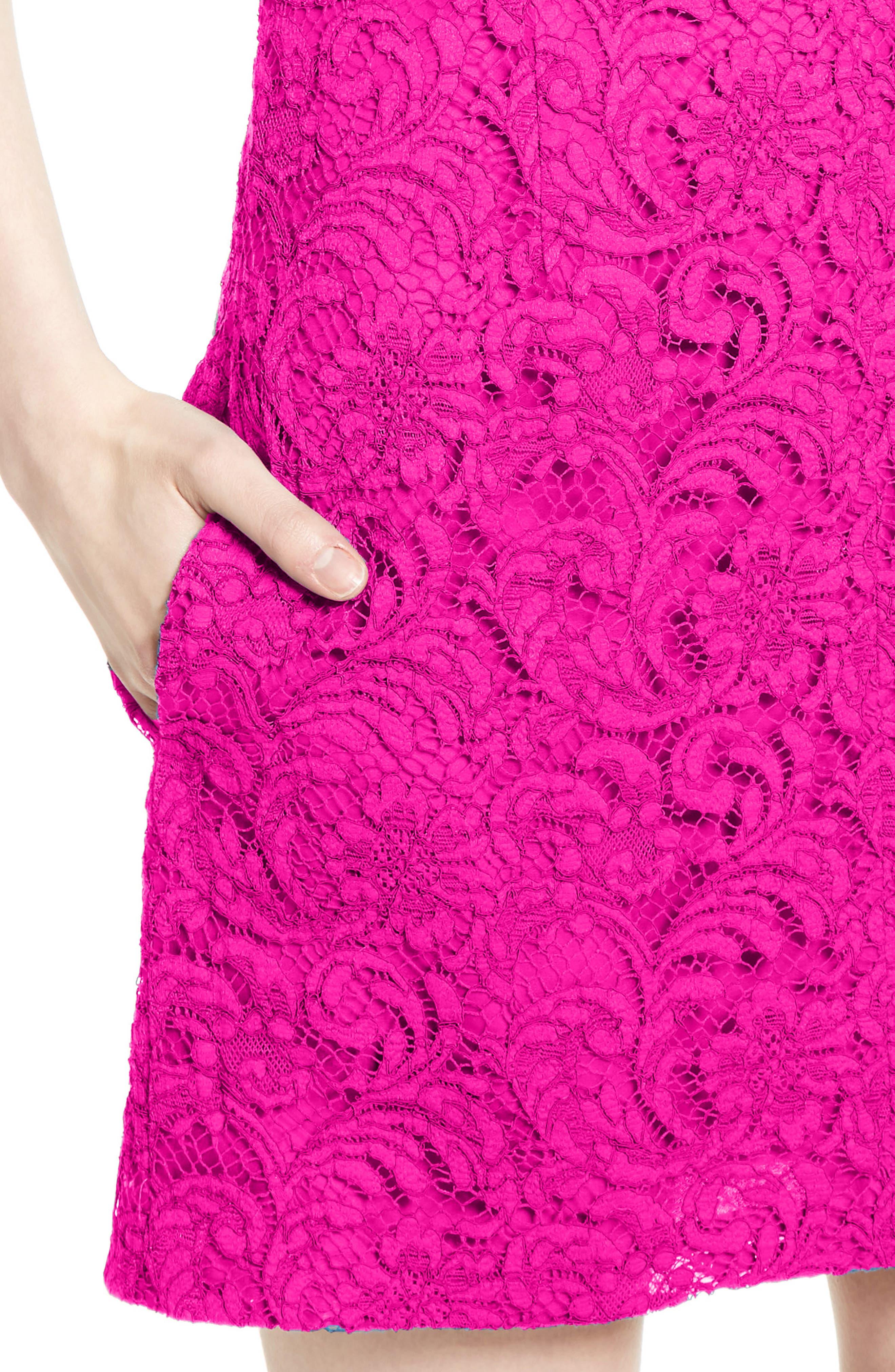 Lace Minidress,                             Alternate thumbnail 6, color,                             Fuchsia