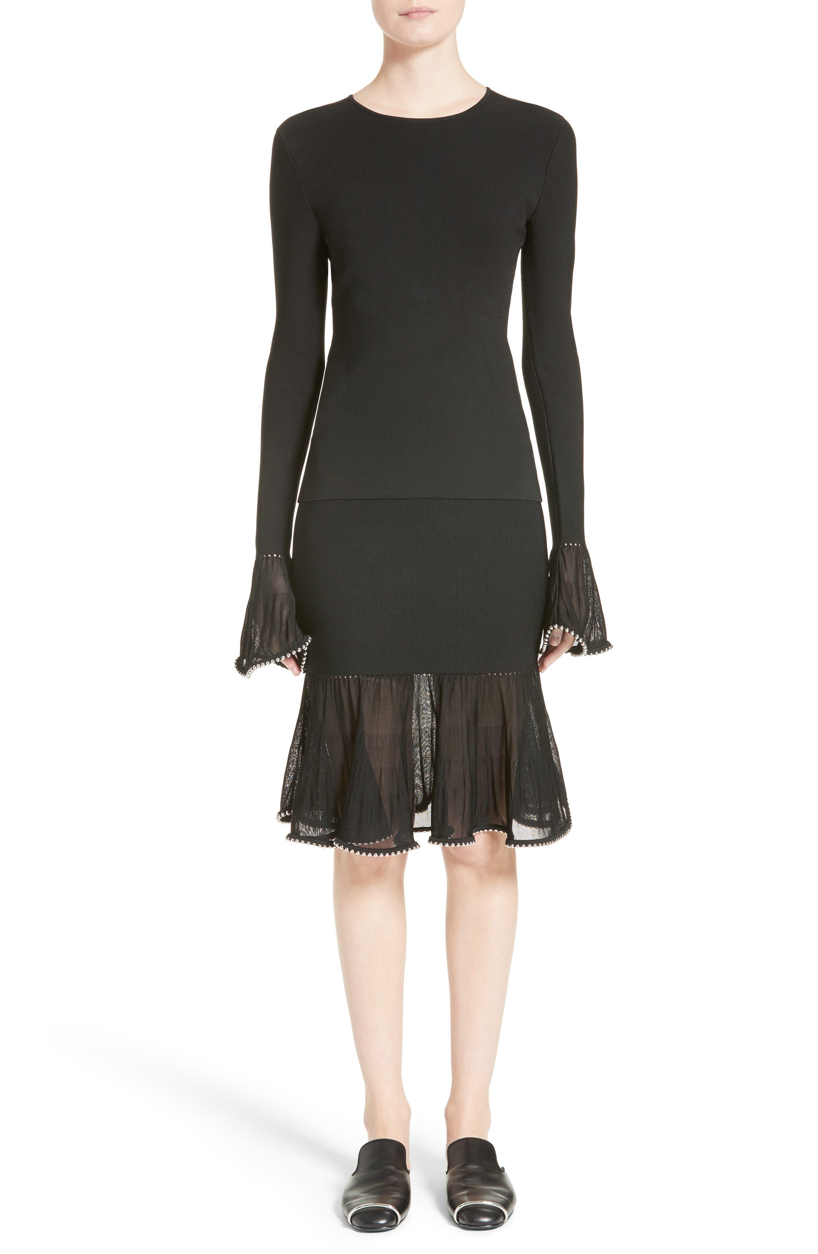 Chain Trim Ruffle Knit Skirt,                             Alternate thumbnail 7, color,                             Black