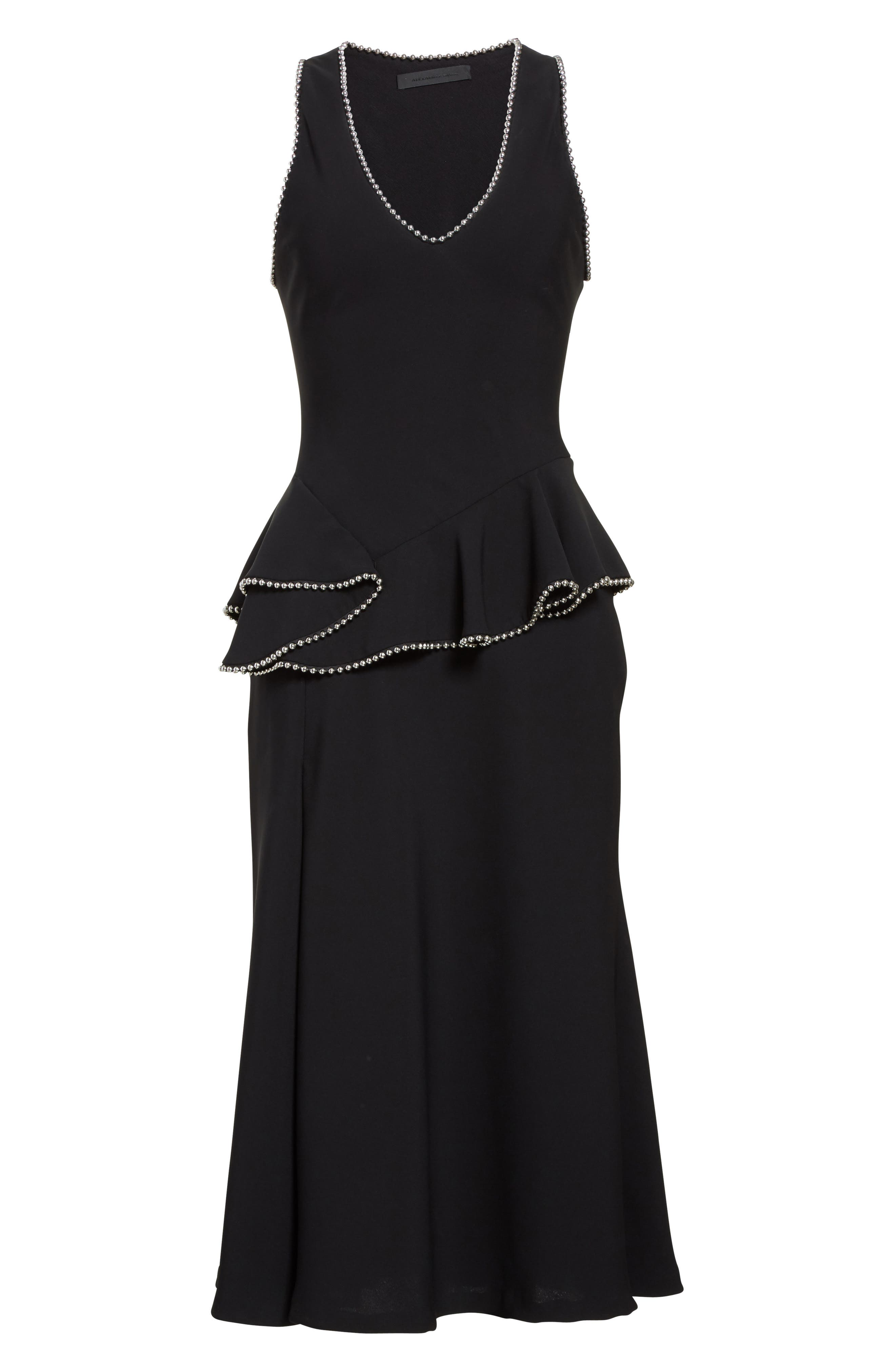 Chain Trim Silk Ruffle Dress,                             Alternate thumbnail 4, color,                             Onyx