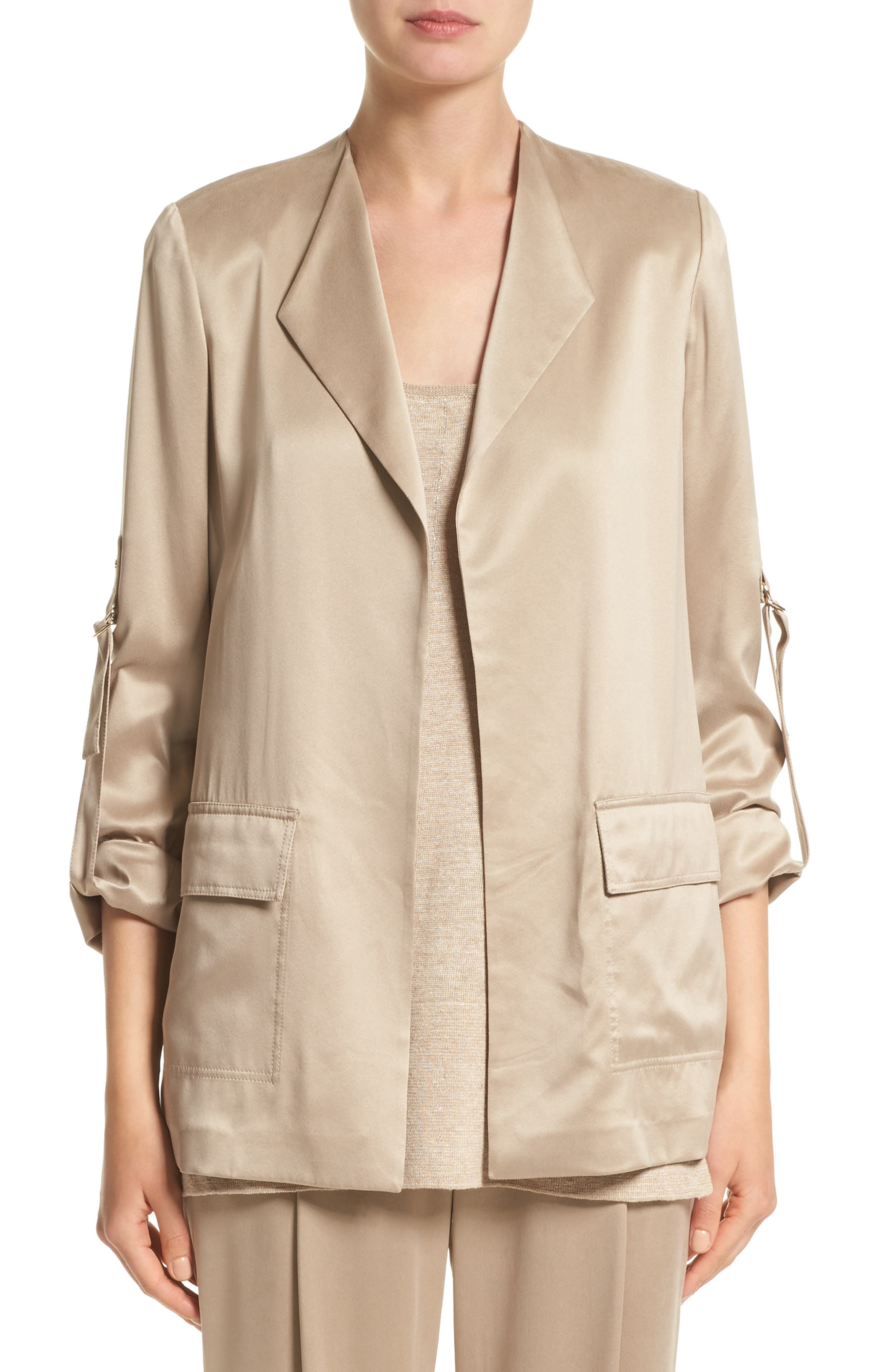 Halden Silk Jacket,                         Main,                         color, Umber