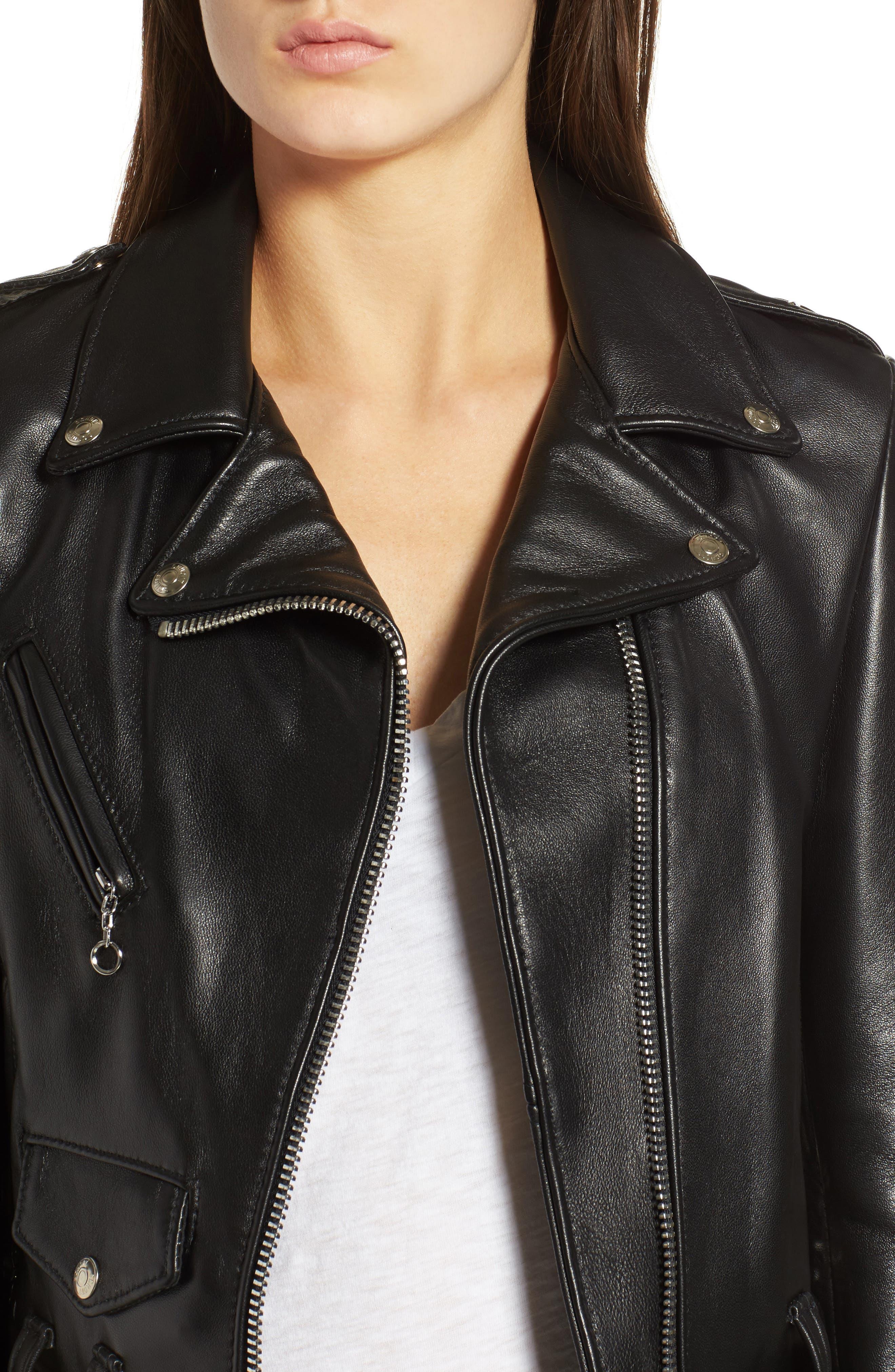 Perfecto Crop Leather Jacket,                             Alternate thumbnail 4, color,                             Black