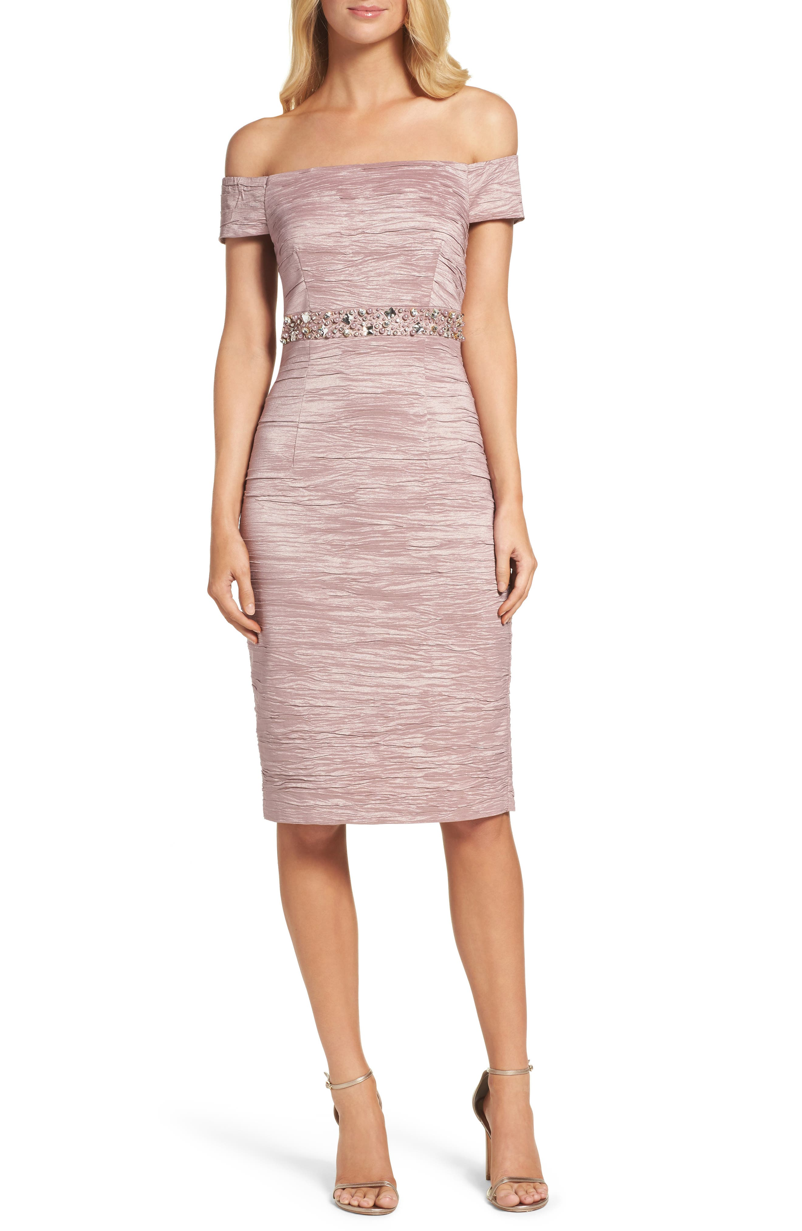Alternate Image 1 Selected - Eliza J Off the Shoulder Taffeta Dress (Regular & Petite)