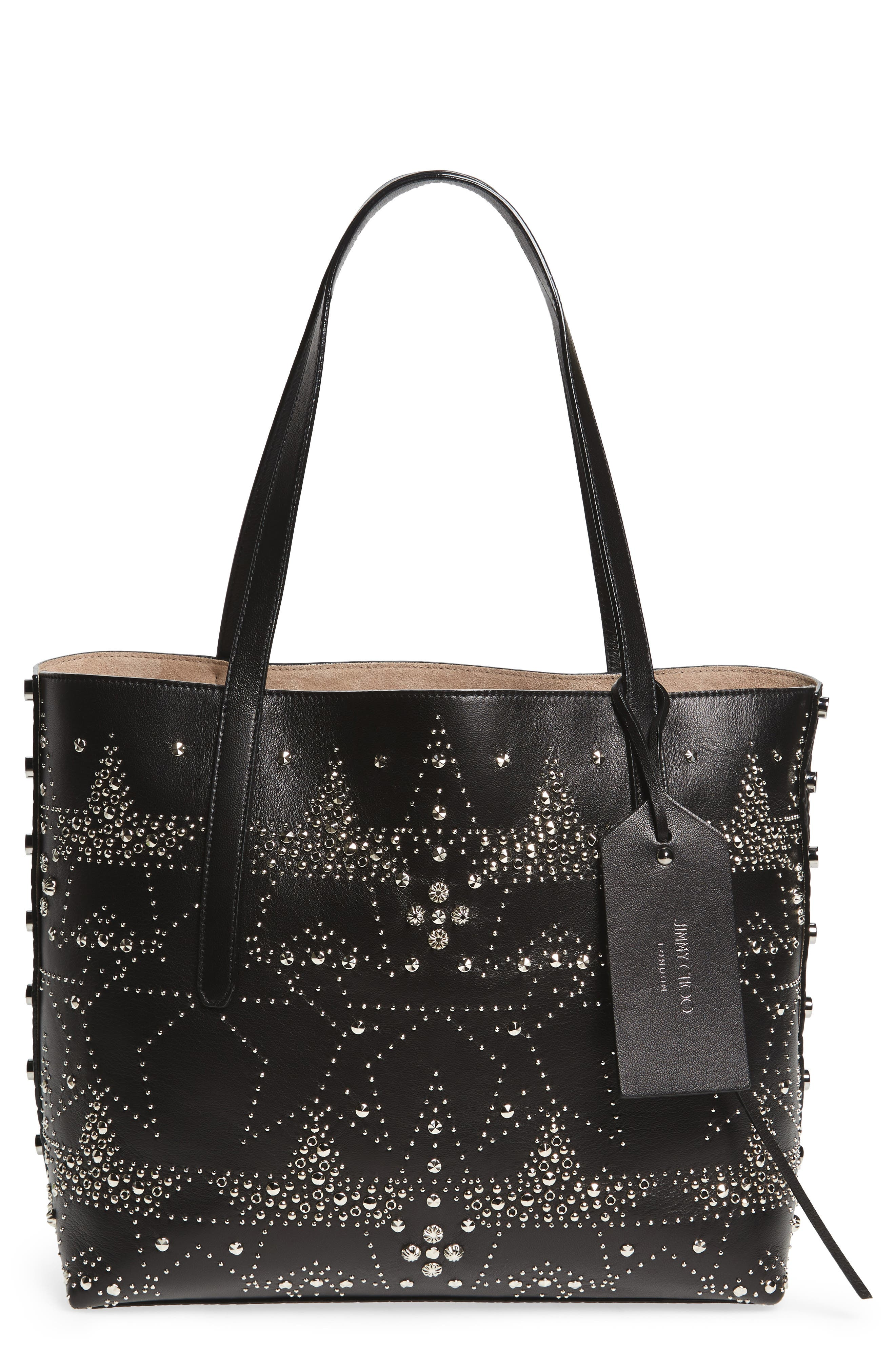 Twist East West Leather Tote,                             Main thumbnail 1, color,                             Black Mix