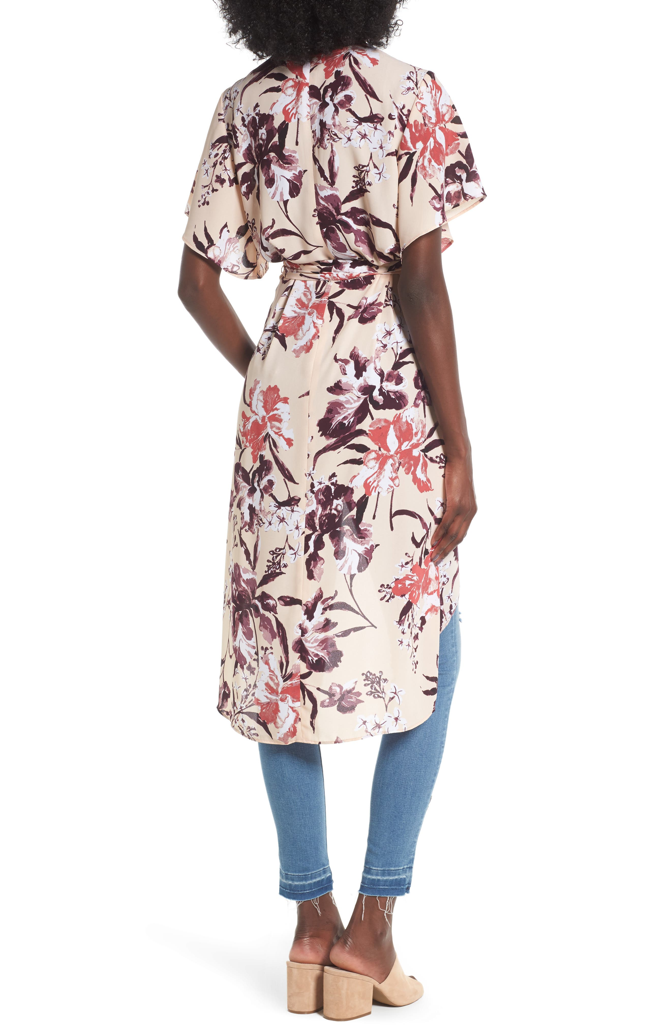 High/Low Wrap Tunic,                             Alternate thumbnail 2, color,                             Beige Dune Mixed Floral