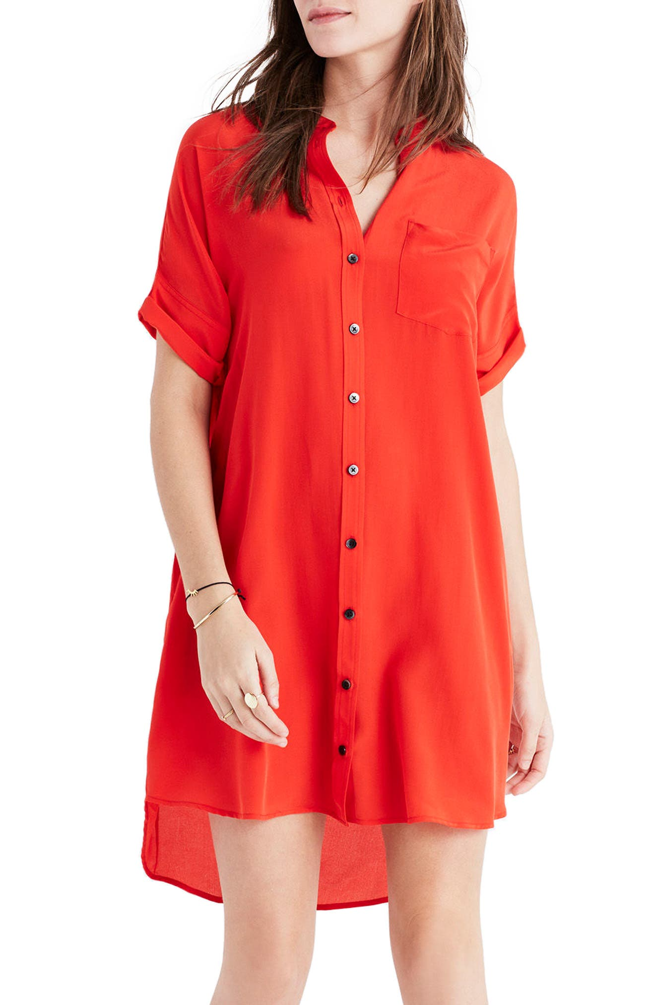 Alternate Image 3  - Madewell Button Down Silk Shirtdress