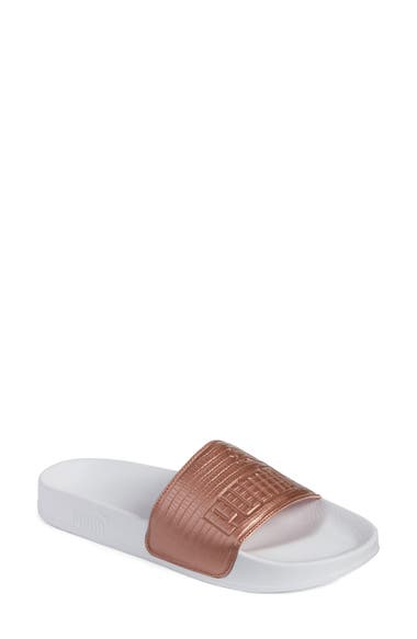 7bb3f6dccc5 Puma Women S Leadcat Leather Slide Sandals From Finish Line In Copper Rose   White