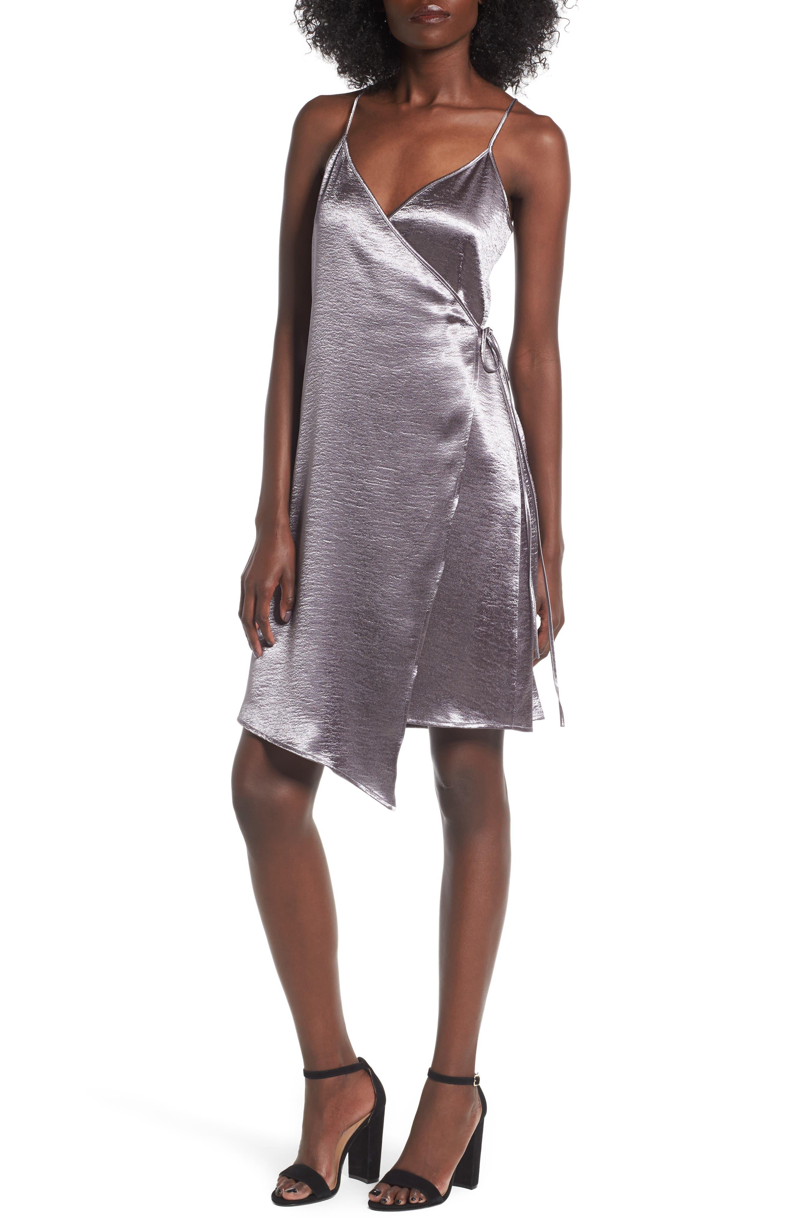 Leith Textured Satin Wrap Dress