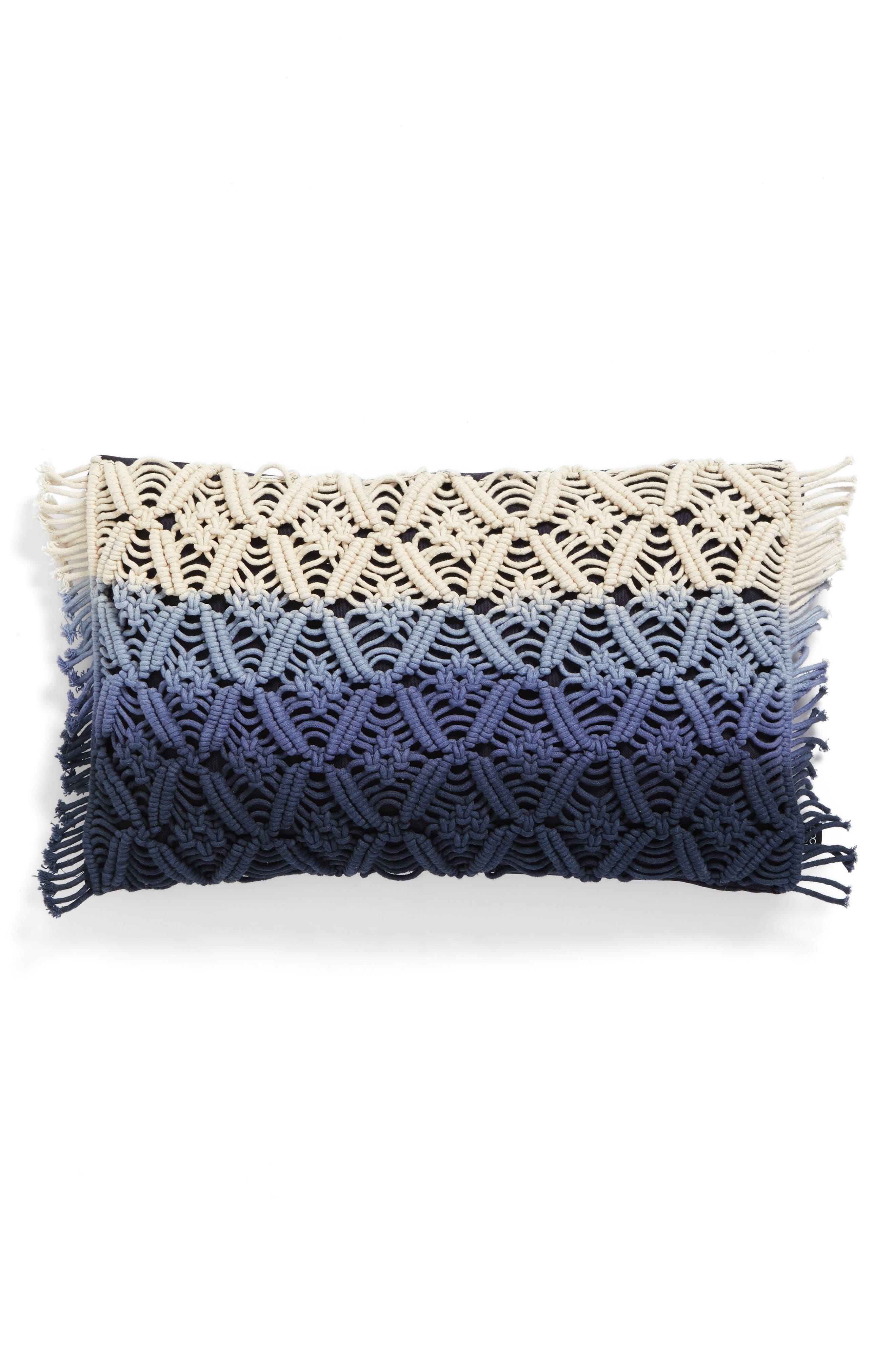 Dip Dye Pillow,                         Main,                         color, Blue/ White