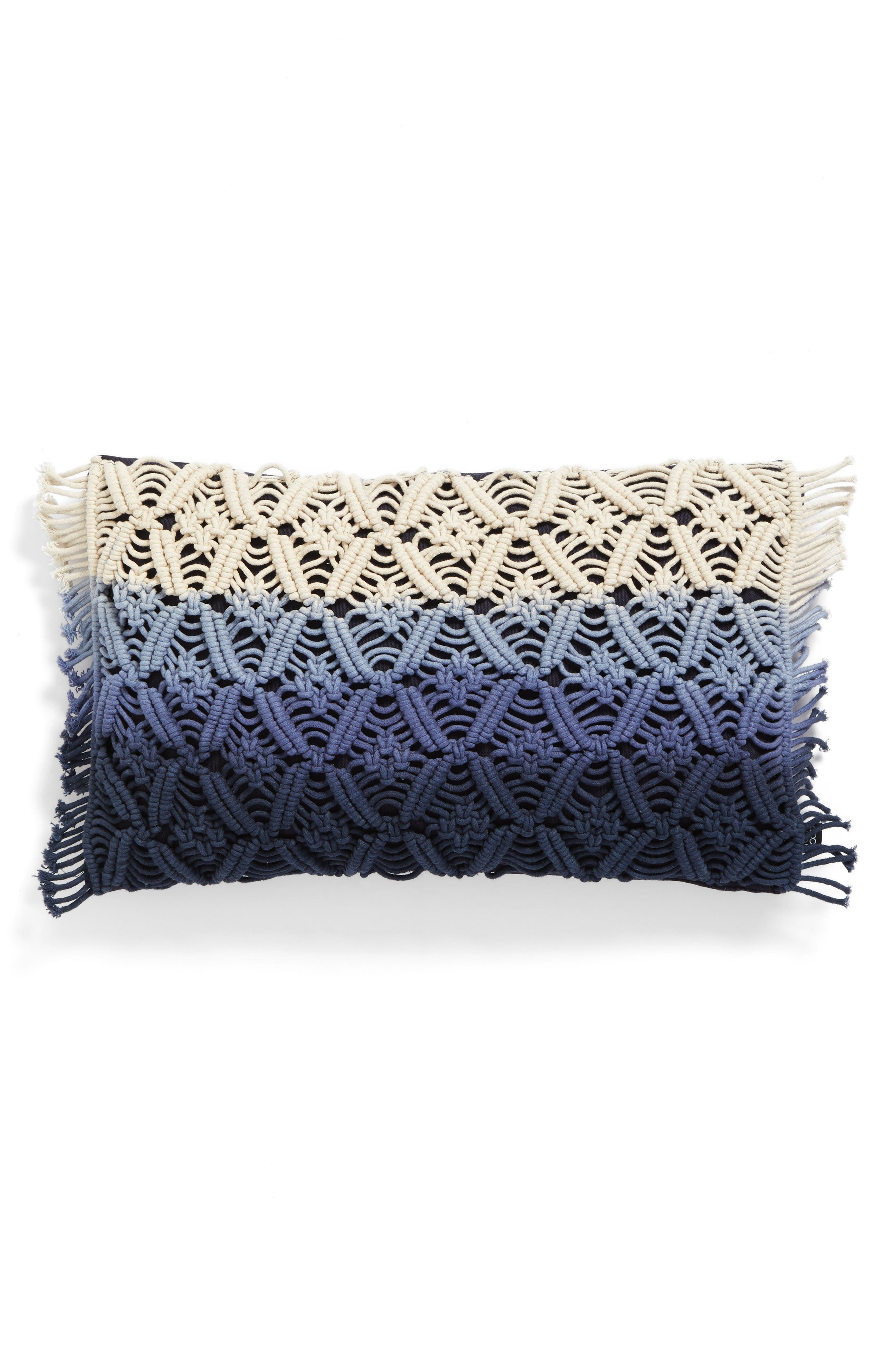 Dip Dye Pillow,                         Main,                         color, Blue/ White