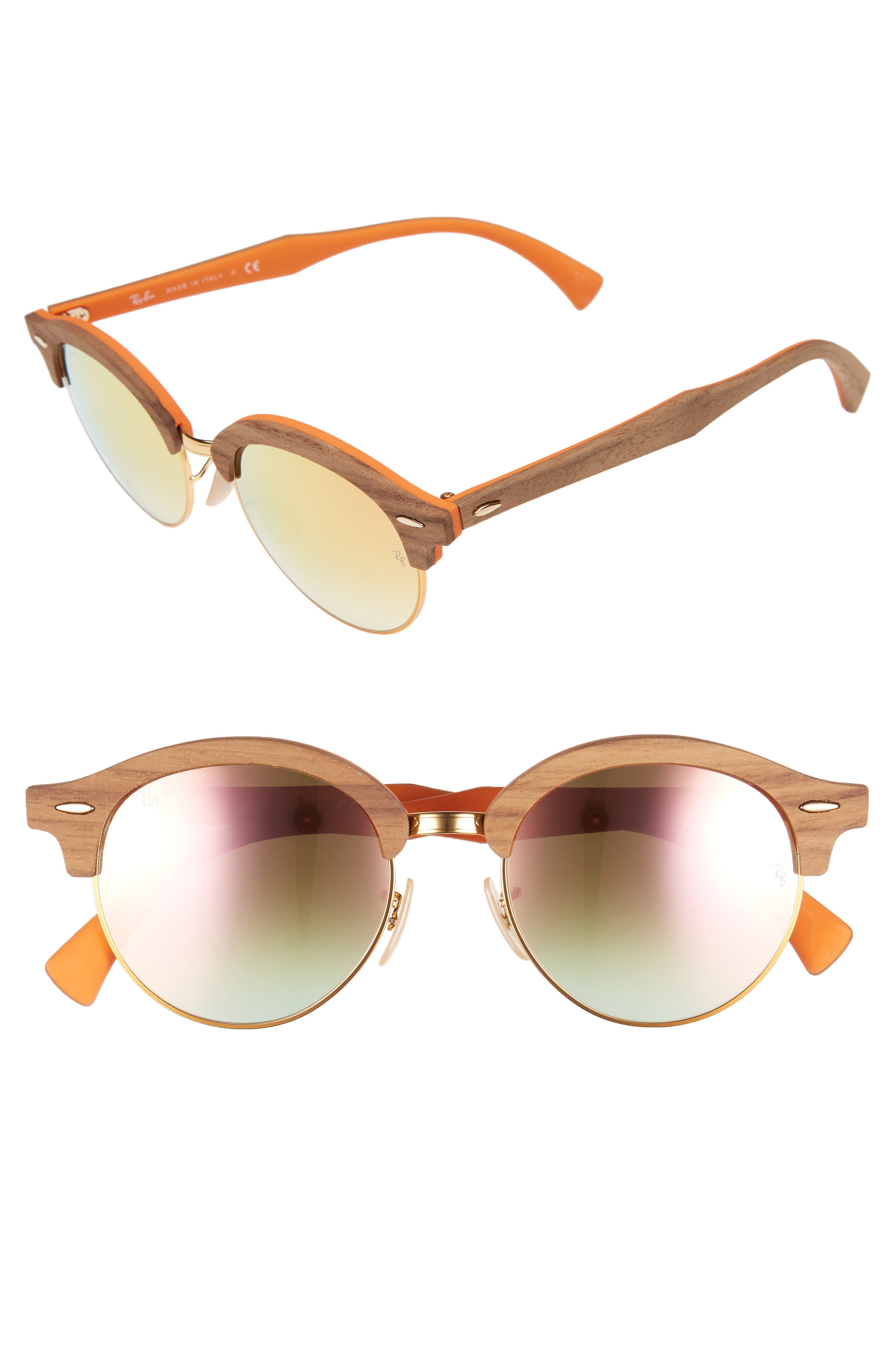 RAY-BAN 51mm Mirrored Round Sunglasses