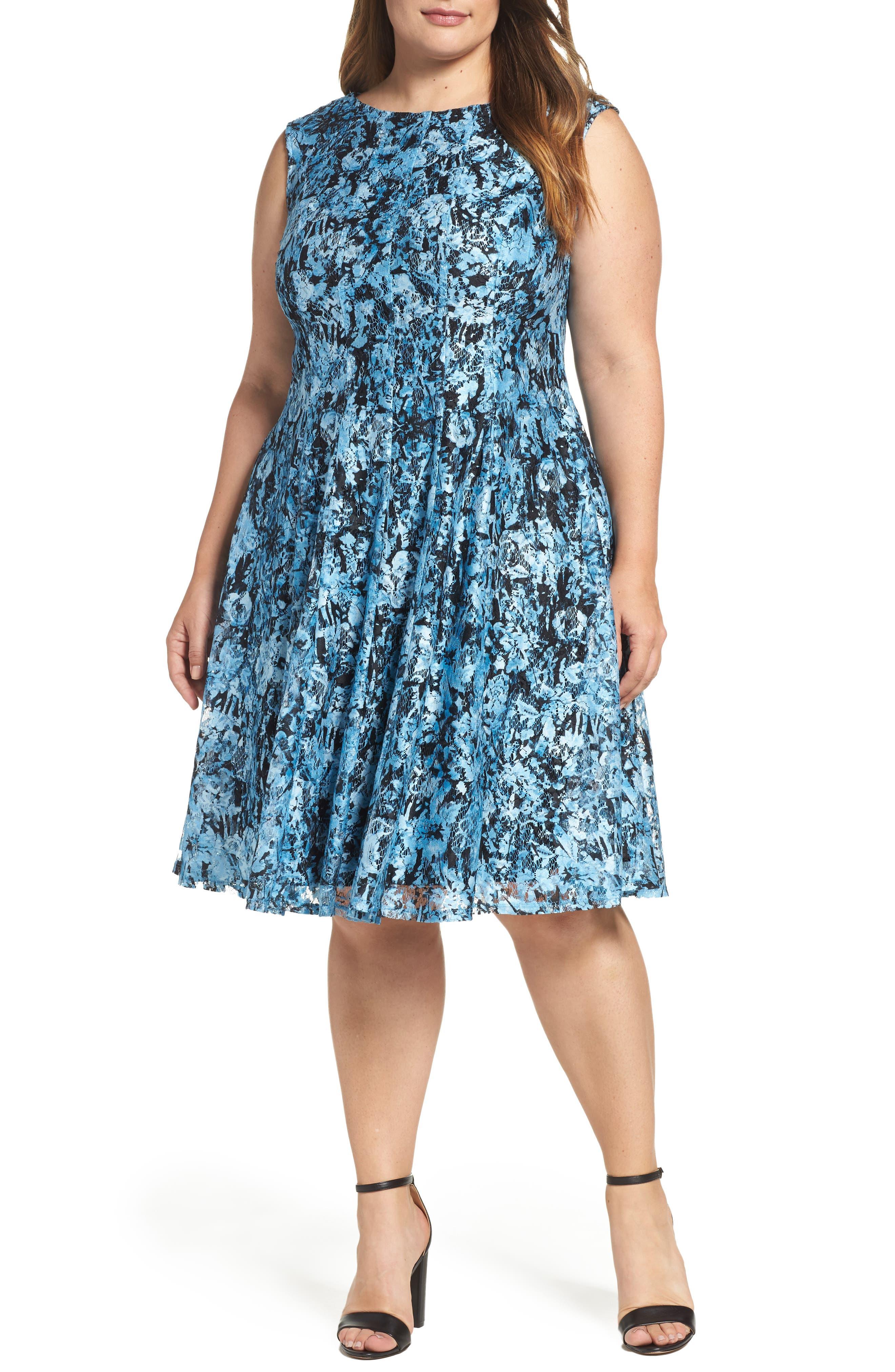 Print Lace Fit & Flare Dress,                         Main,                         color, Blue/ Black