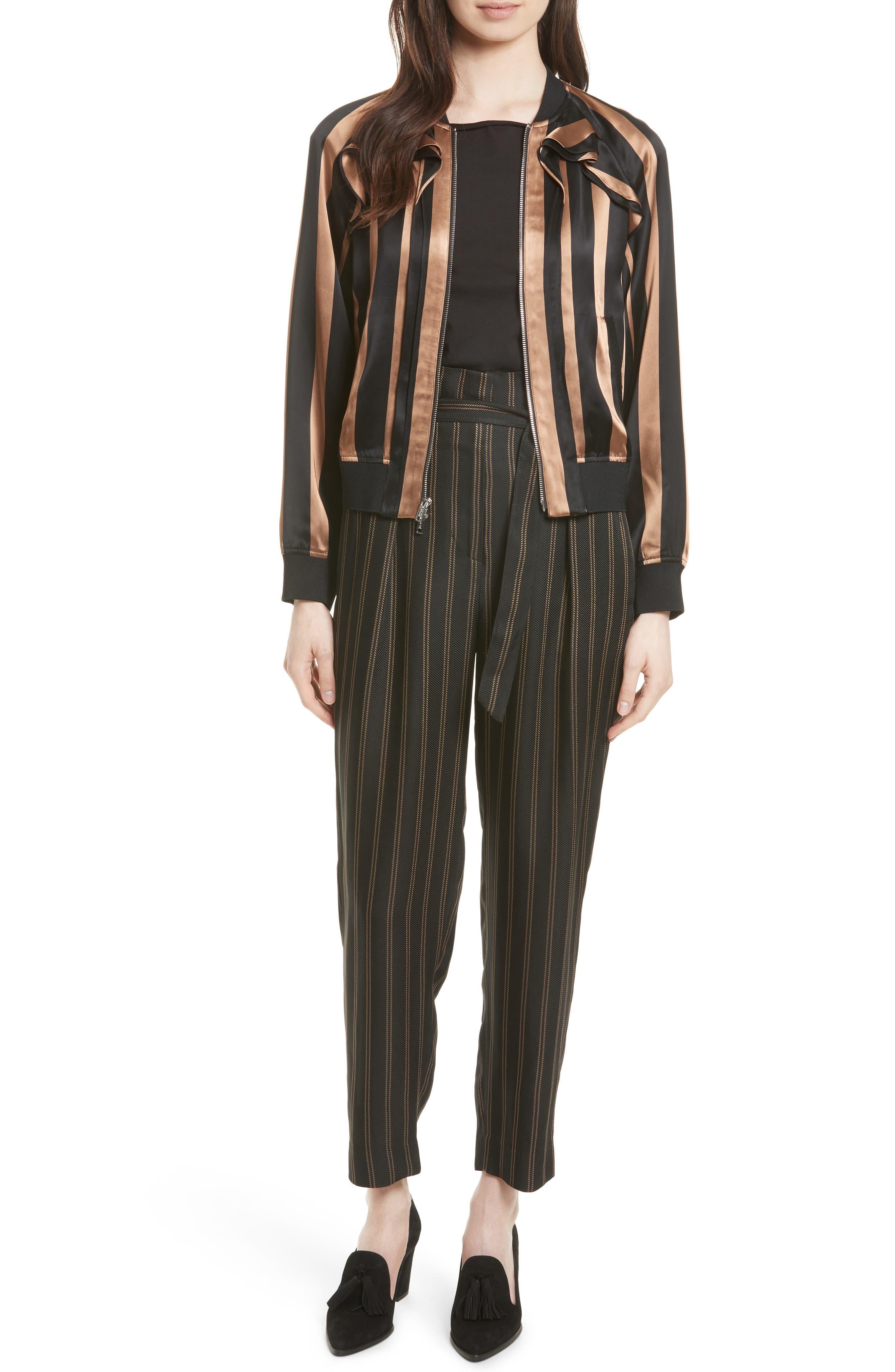 Belted Pleat Crop Pants,                             Alternate thumbnail 2, color,                             Black/ Tan