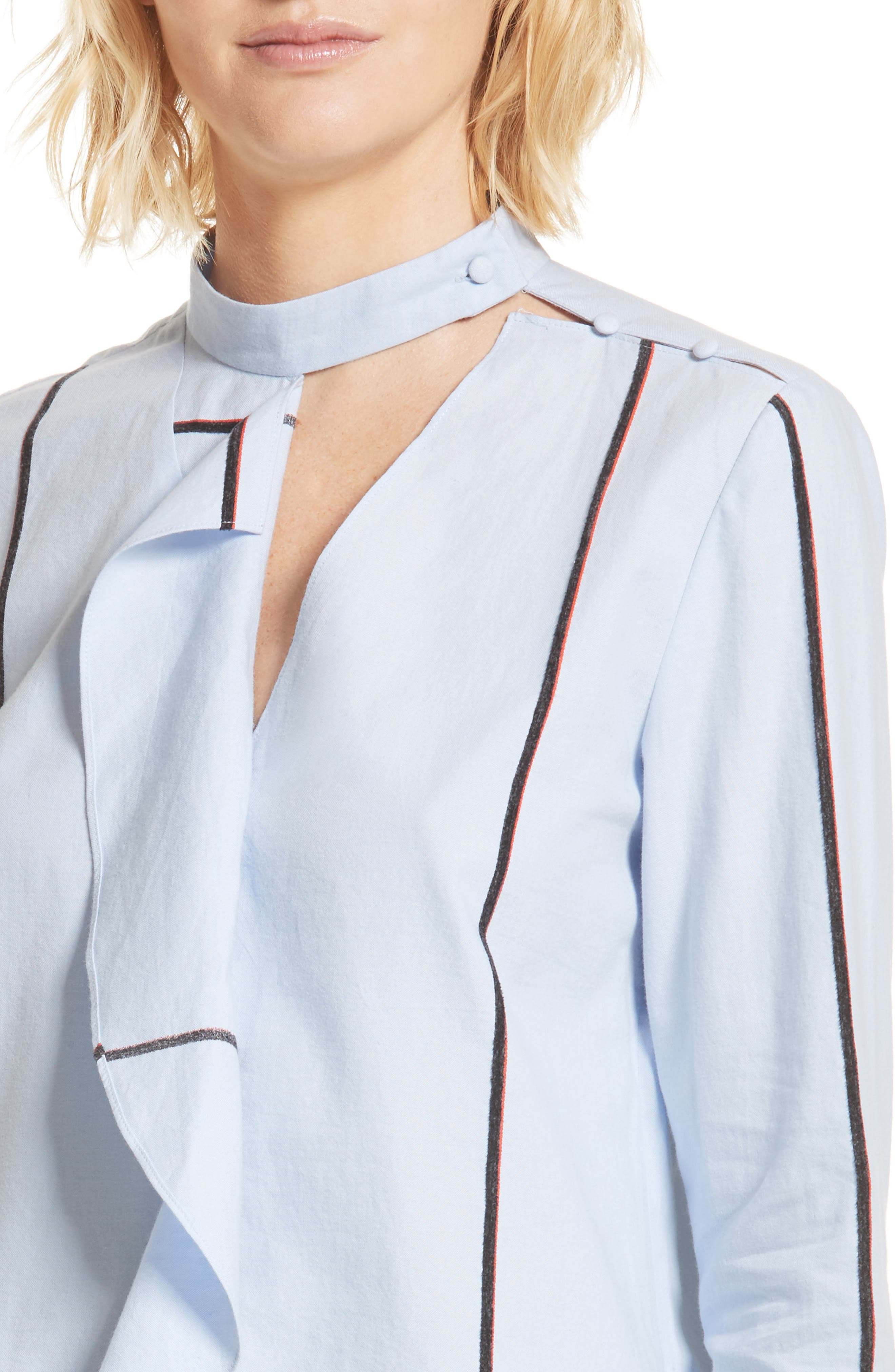 Stripe Cascade Ruffle Shirt,                             Alternate thumbnail 5, color,                             Oxford
